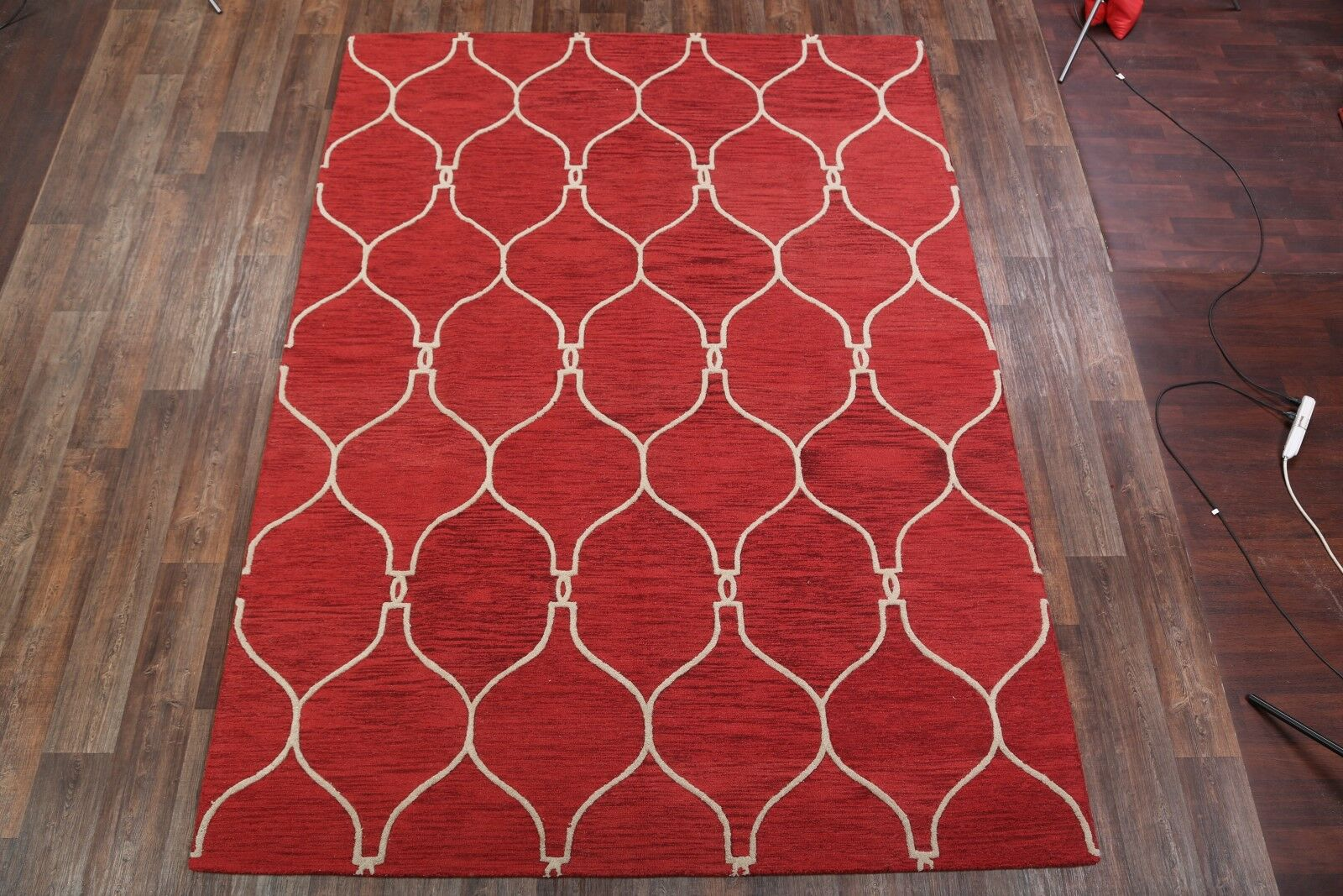 Huckleberry Moroccan Trellis Oriental Hand-Tufted Wool Red/Burgundy Area Rug Rug Size: Rectangle 8' x 10'