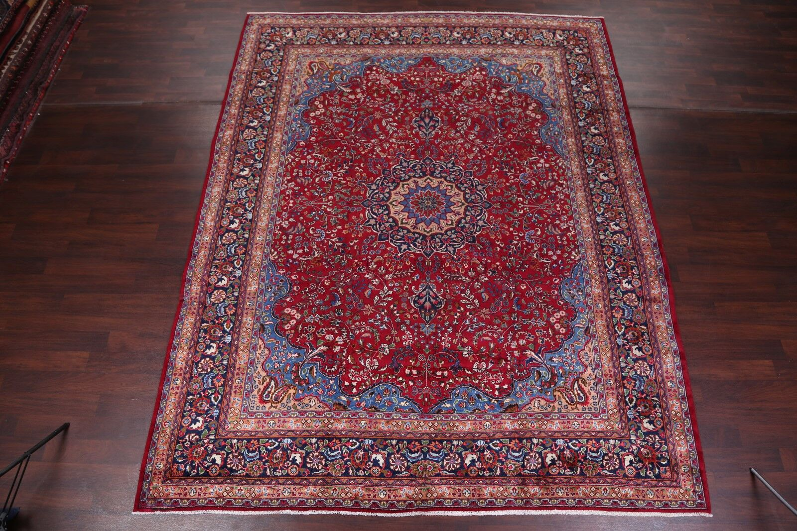 One-of-a-Kind Floral Mashad Persian Hand-Knotted 9'11