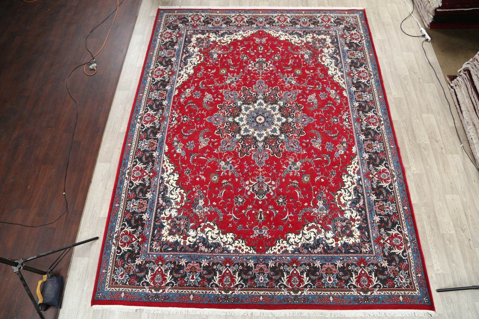 Traditional Soft Plush Floral Kashan Persian Red/Blue Area Rug