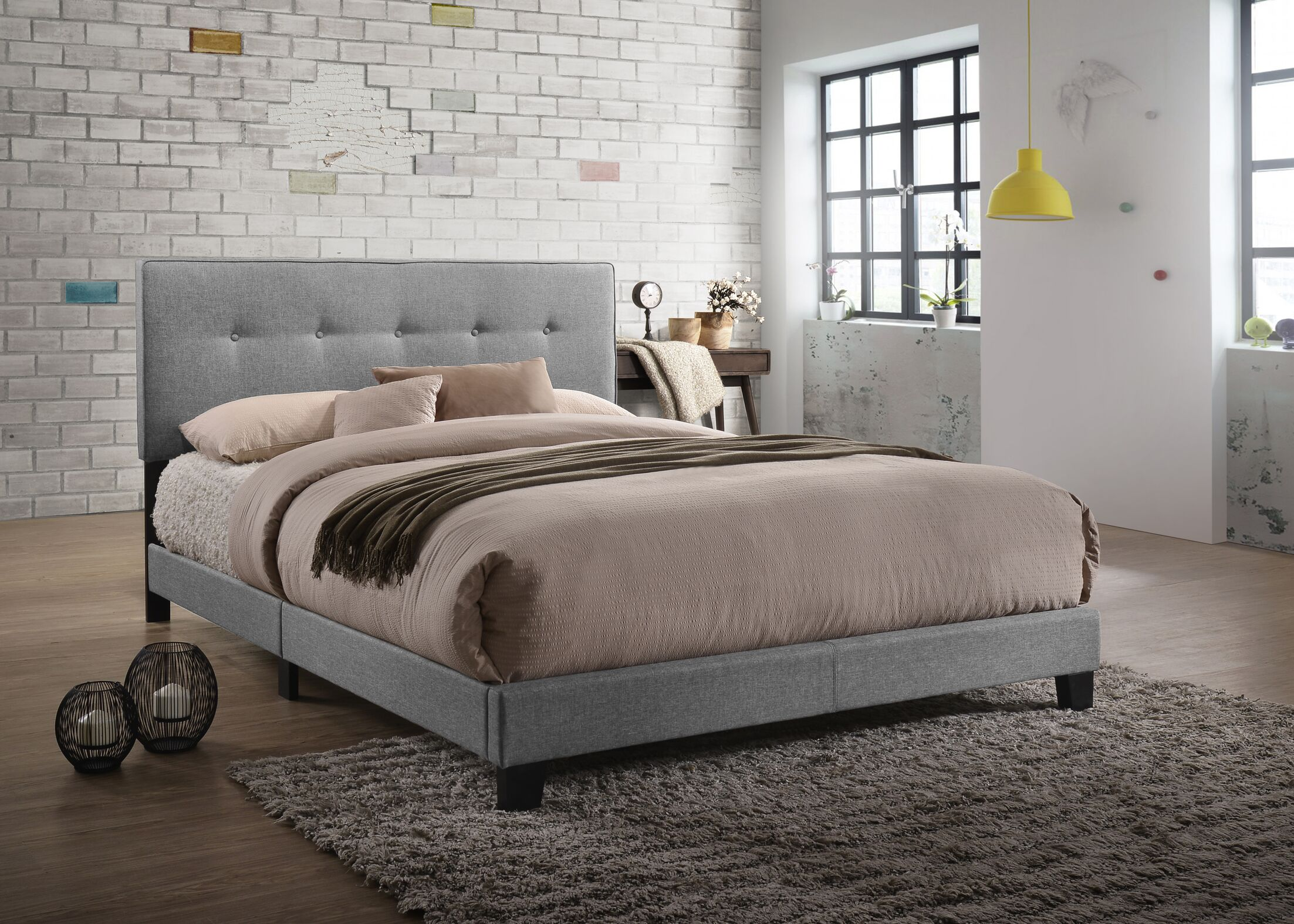 Eisen Queen Upholstered Panel Bed Color: Light Gray