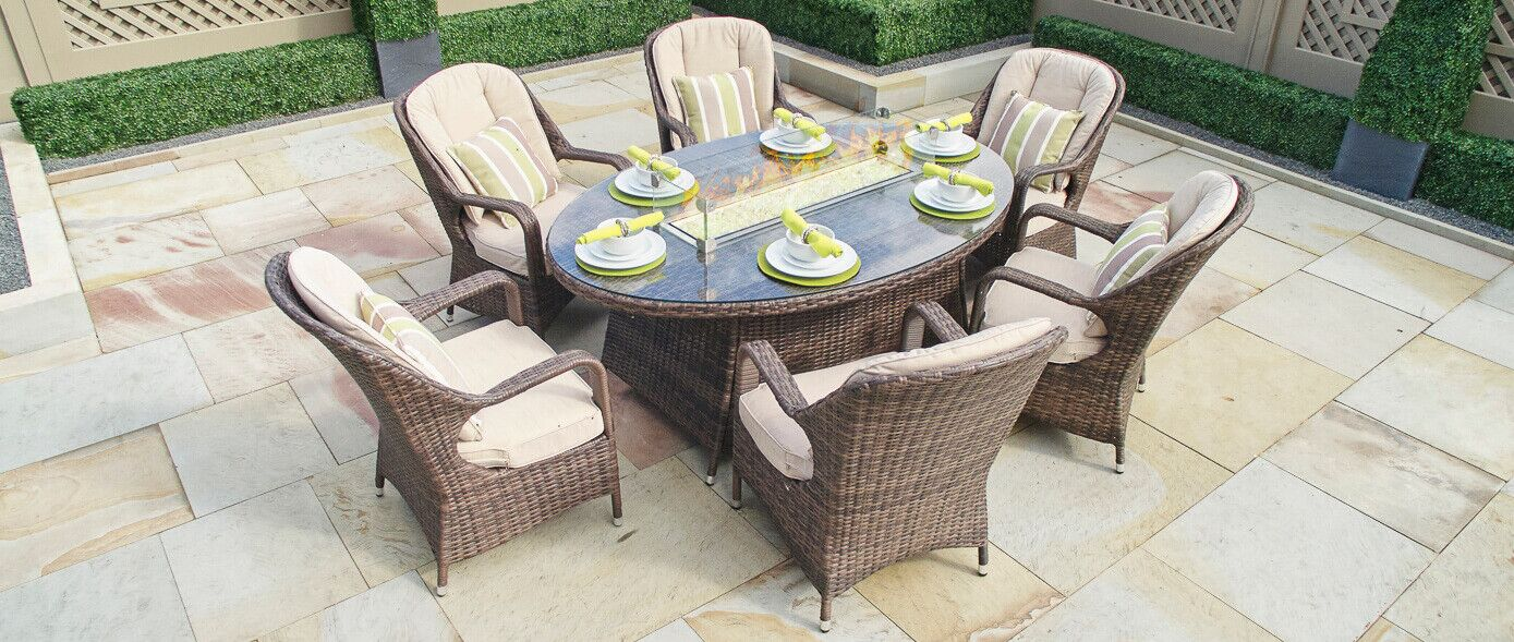 Leppert 7 Piece Dining Set with Firepit