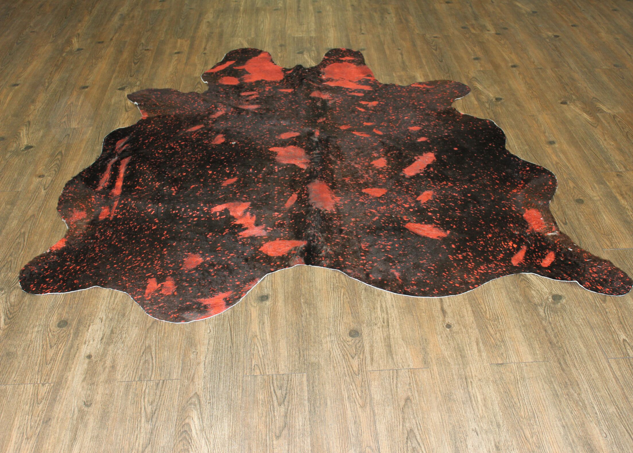One-of-a-Kind Marshal Hand-Woven Cowhide Red Area Rug