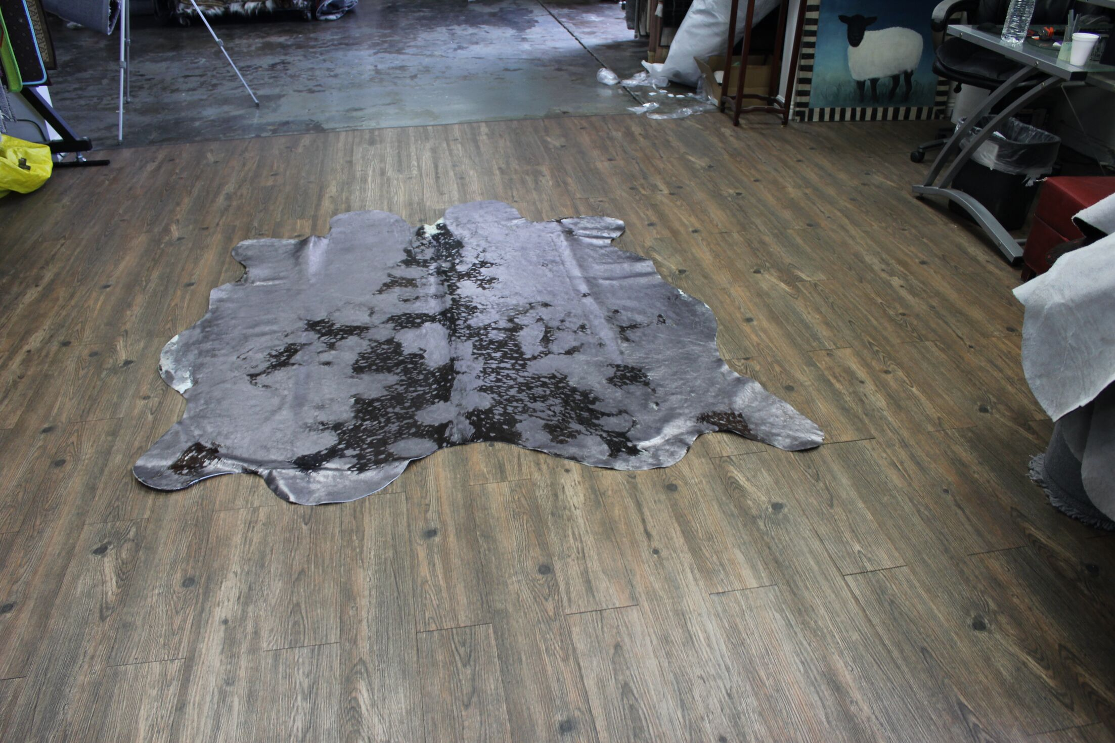 One-of-a-Kind Algarin Premium Hand-Woven Cowhide Gray Area Rug