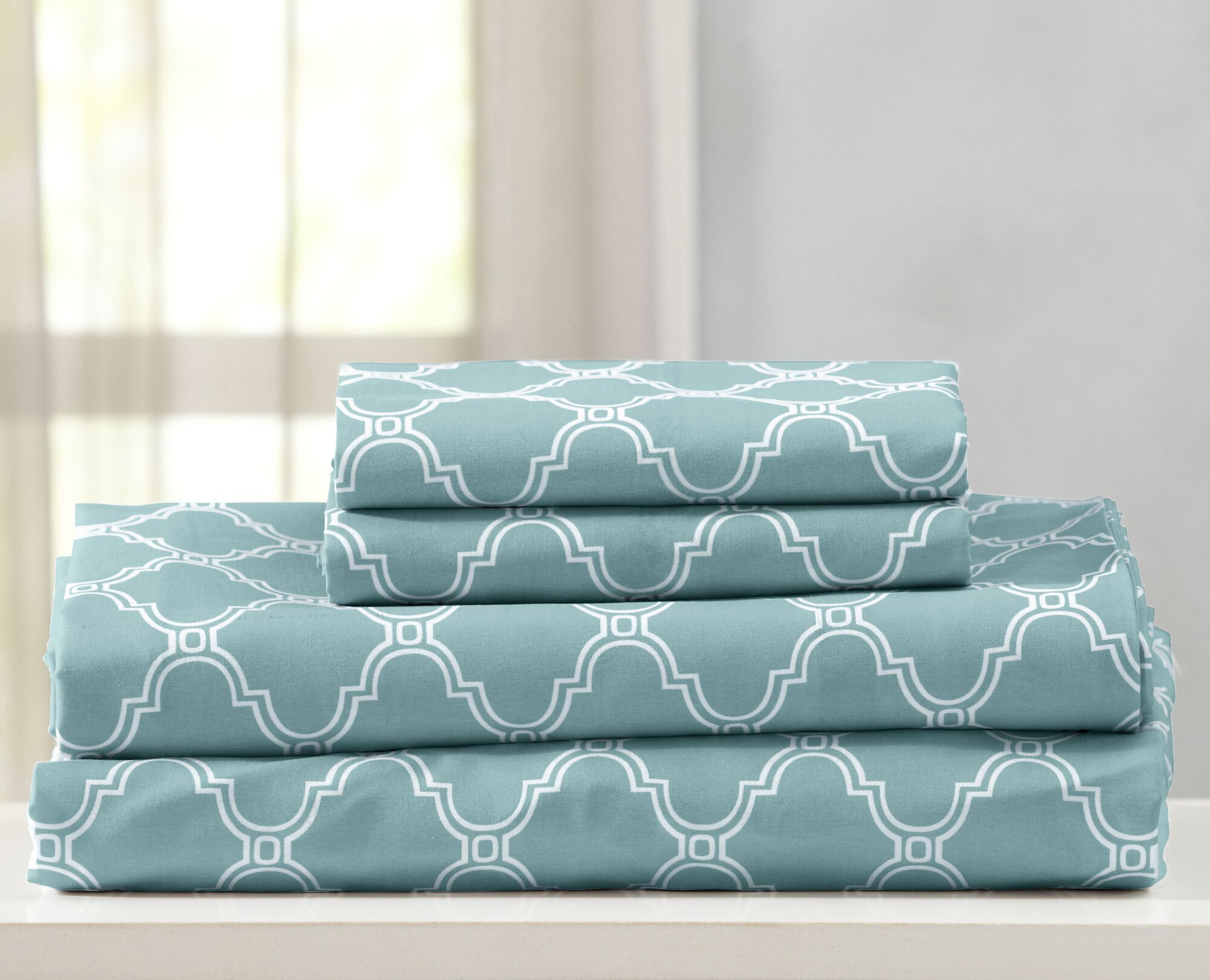 Kinman Geometric Printed Double Brushed Microfiber Sheet Set Color: Aqua Marine, Size: King