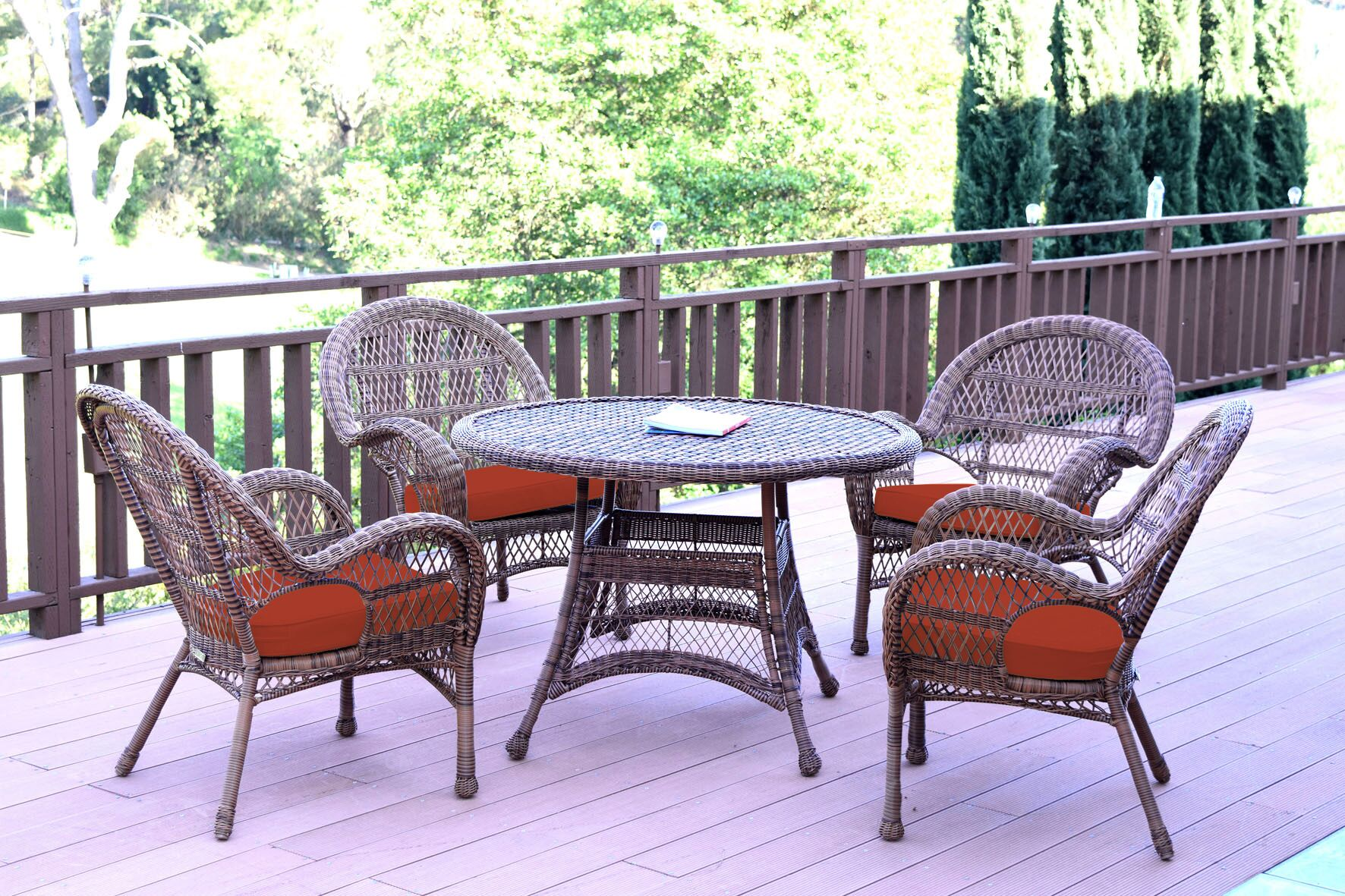 Mangum 5 Piece Dining Set with Cushions Color (Frame): Honey, Cushion Color: Red Orange