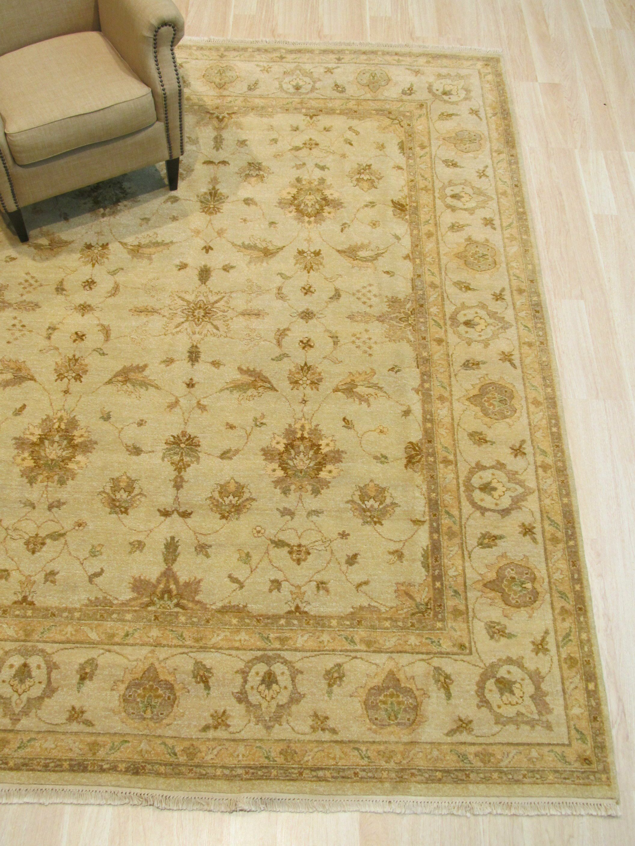 One-of-a-Kind Dozier Hand-Knotted Wool Beige Area Rug