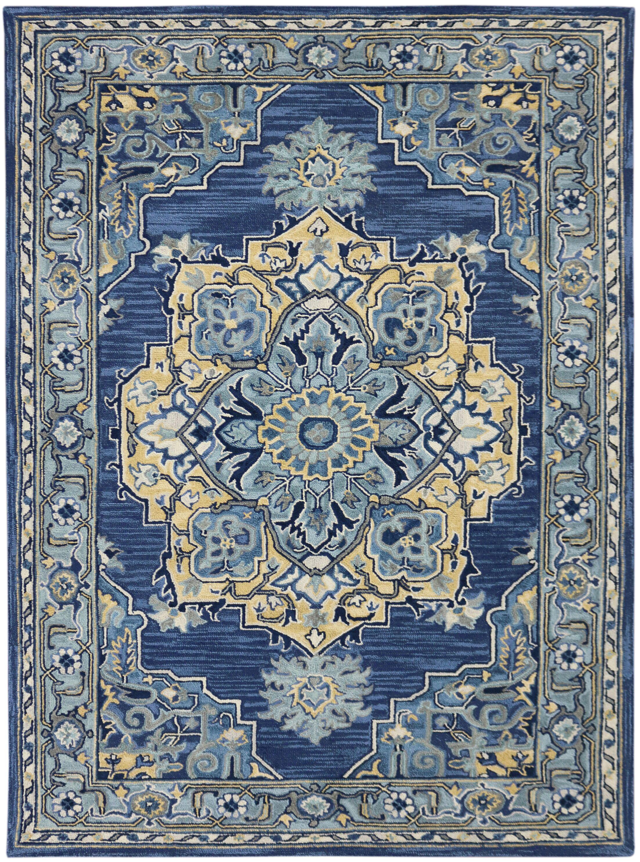 Shidler Hand-Tufted Wool Steel Blue Area Rug Rug Size: Rectangle 5' x 8'