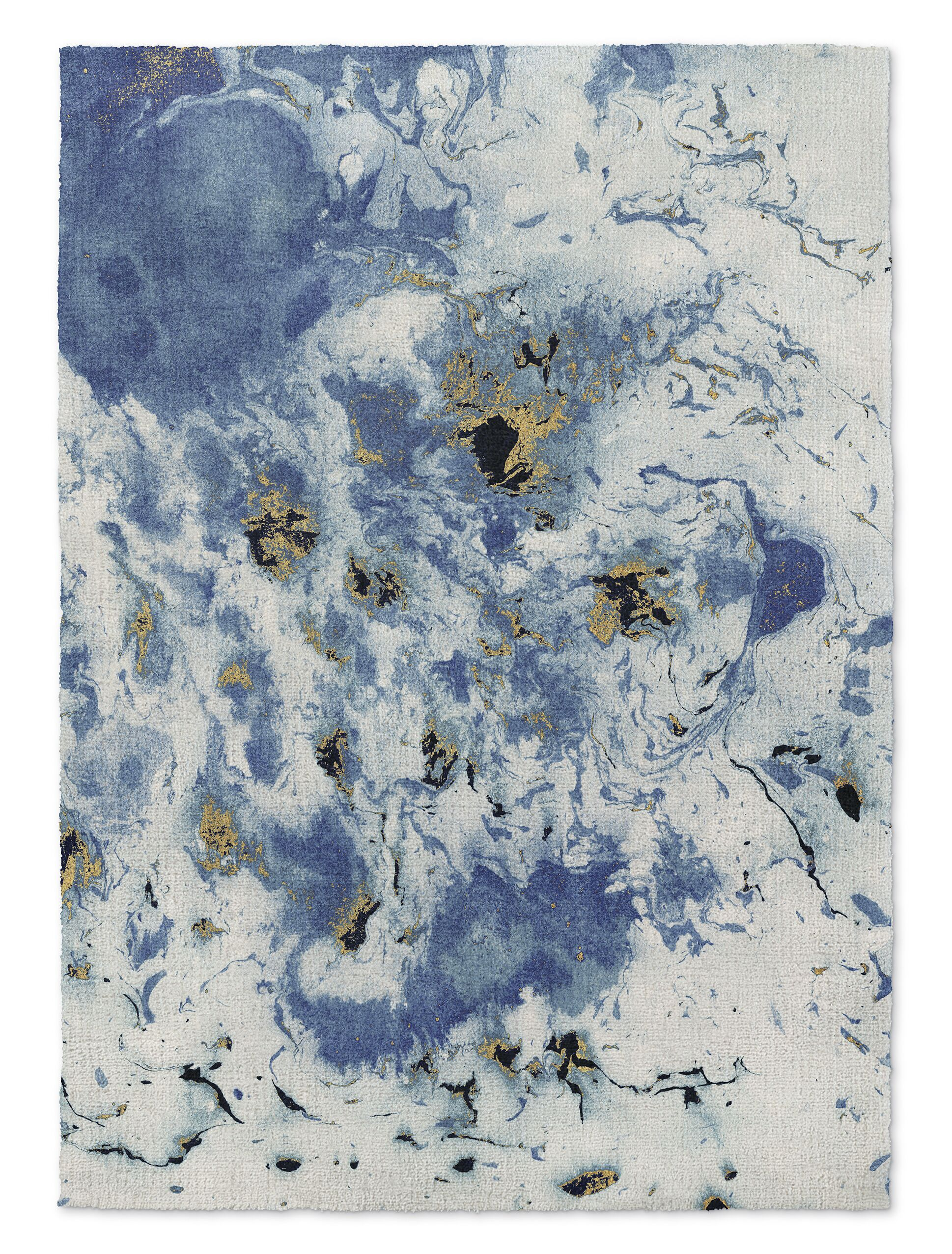 Overturf Marbled Blue/Gray Area Rug Rug Size: Rectangle 2' x 3'