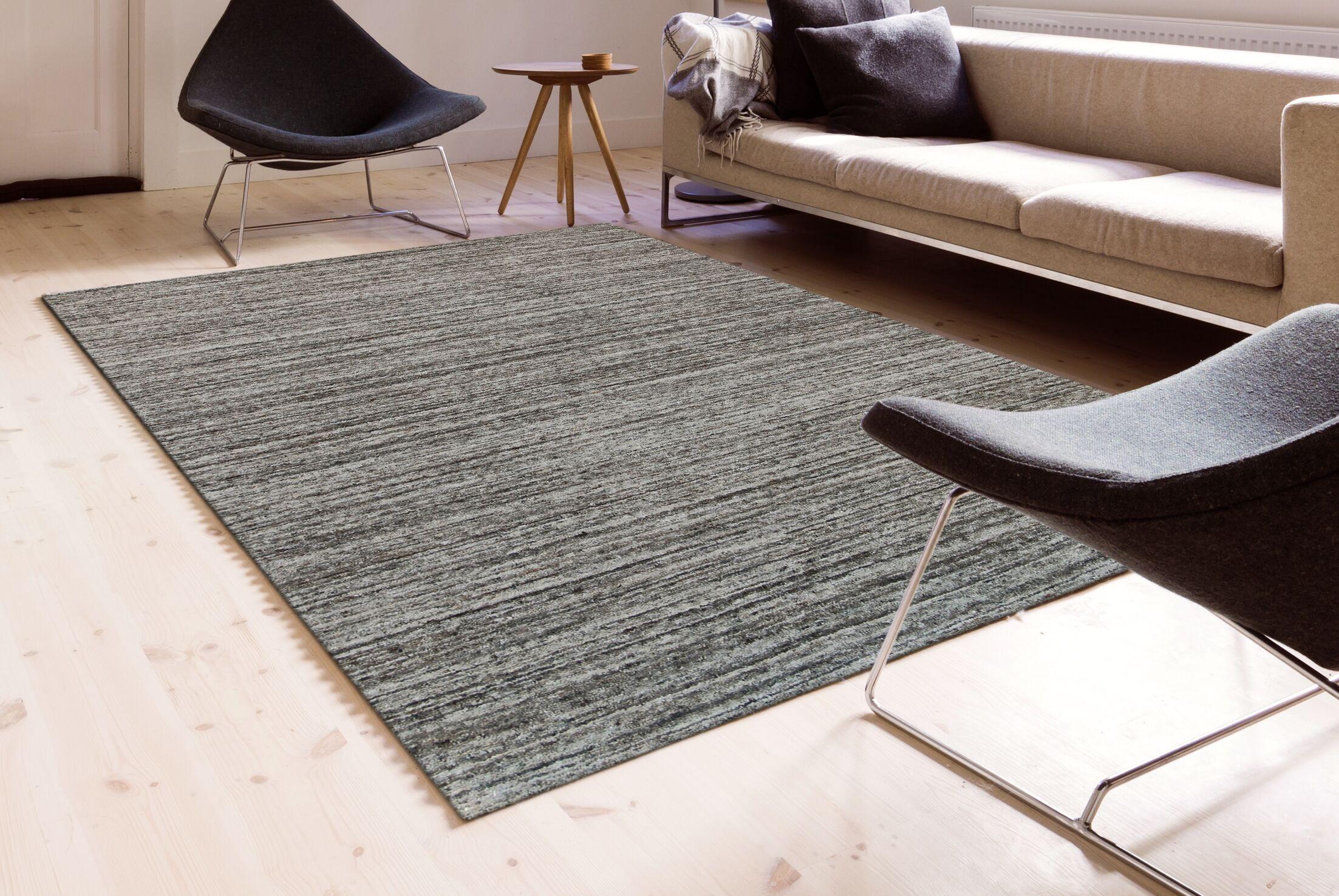 Holliman Hand-Woven Wool Iron Area Rug Rug Size: Rectangle 5' x 8'