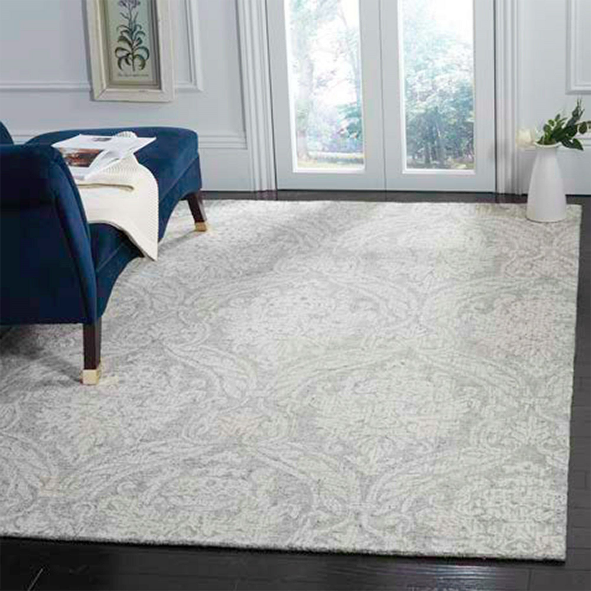 Vogler Abstract Hand-Tufted Wool Gray/Ivory Area Rug Rug Size: Square 6' x 6'