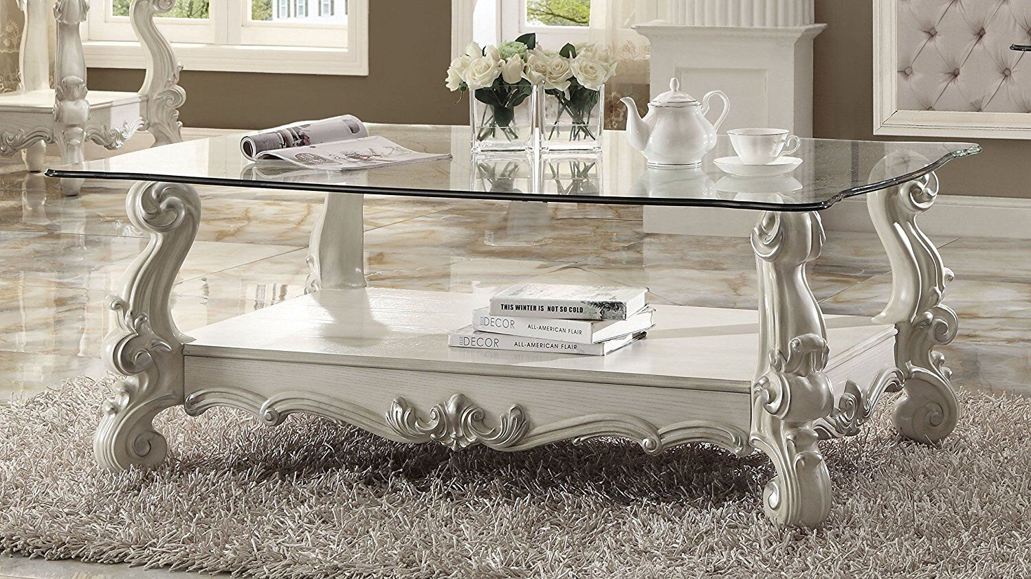 Elliana Coffee Table Table Base Color: Bone White