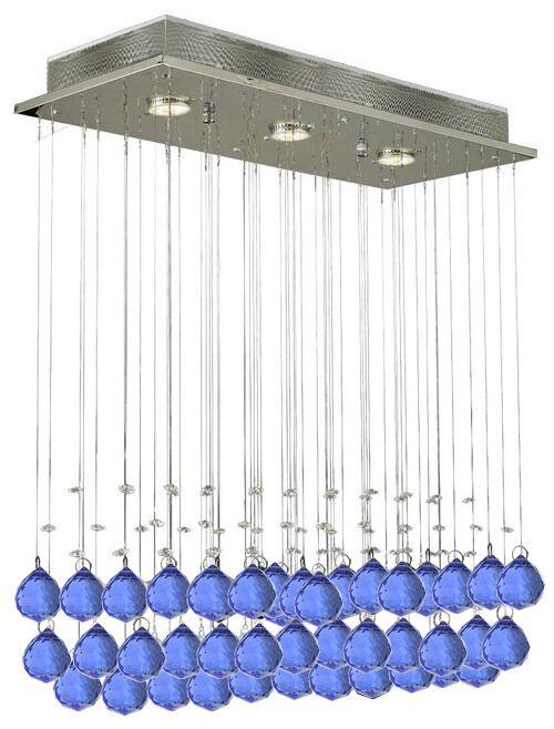 Farhat Raindrop 3-Light Chandelier Crystal: Blue