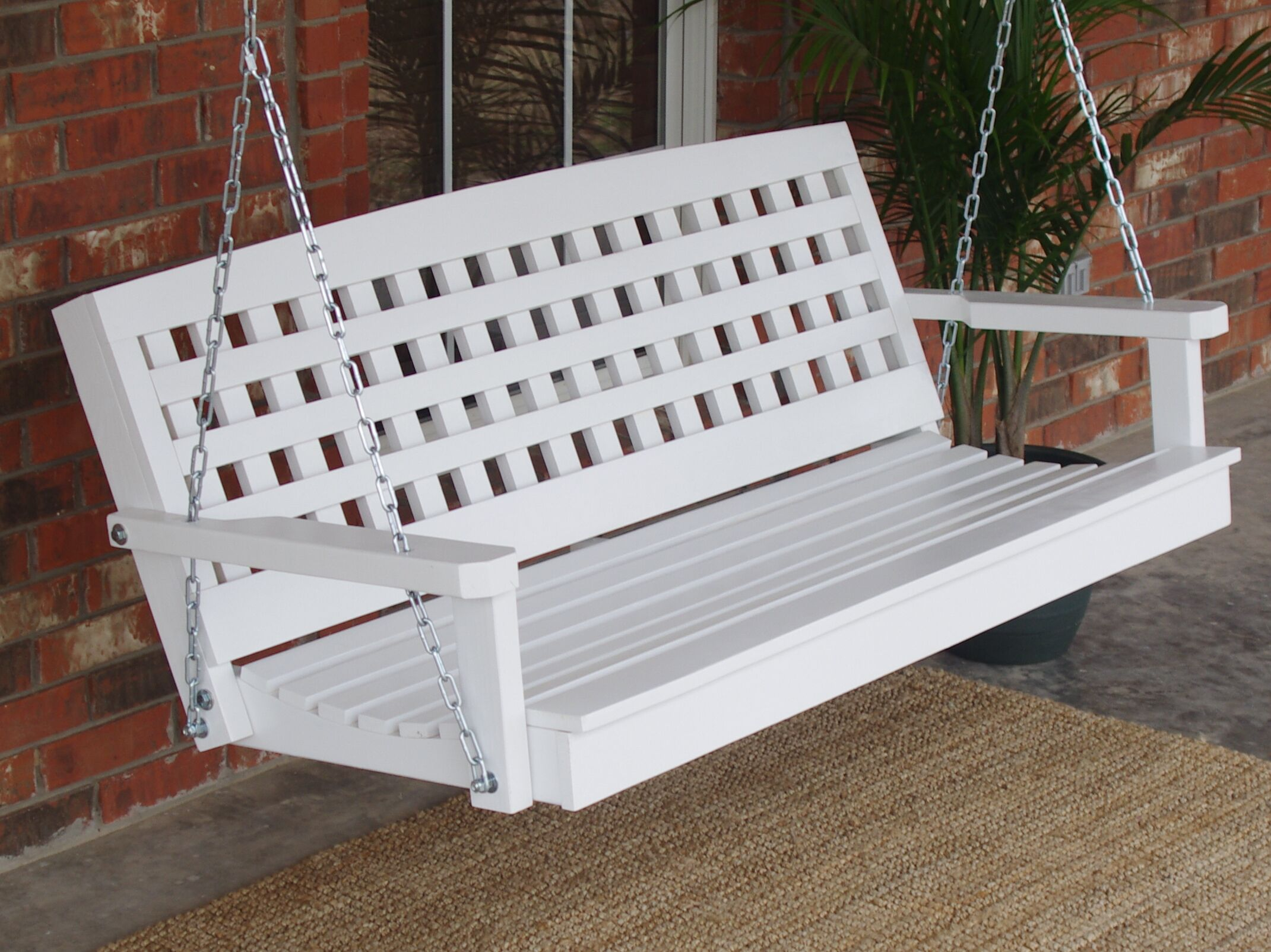 Petty Lattice Back Style Porch Swing Finish: Stainless Steel, Size: 24