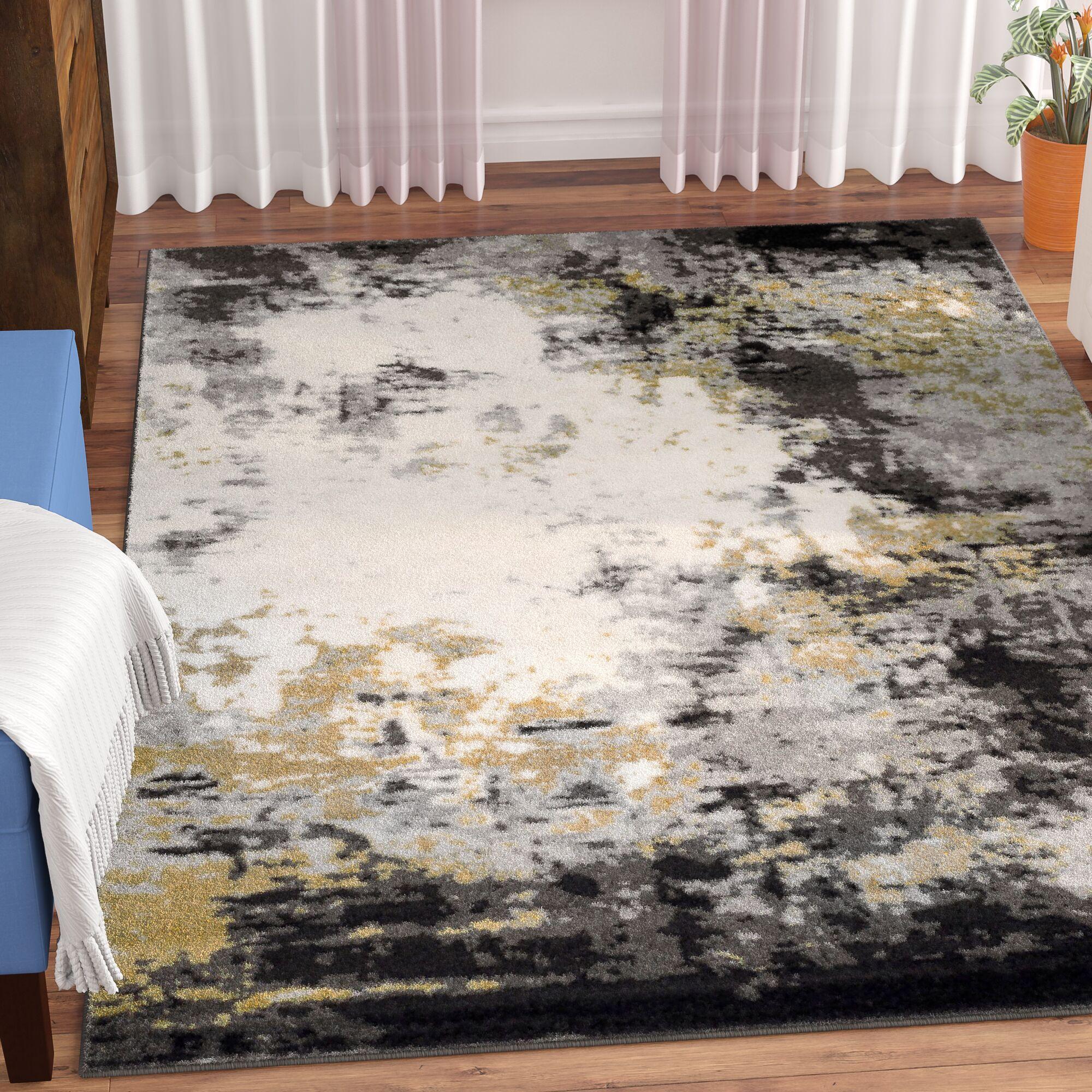 Shuff Charcoal/Mustard Yellow/Gray Area Rug Rug Size: Rectangle 5'3