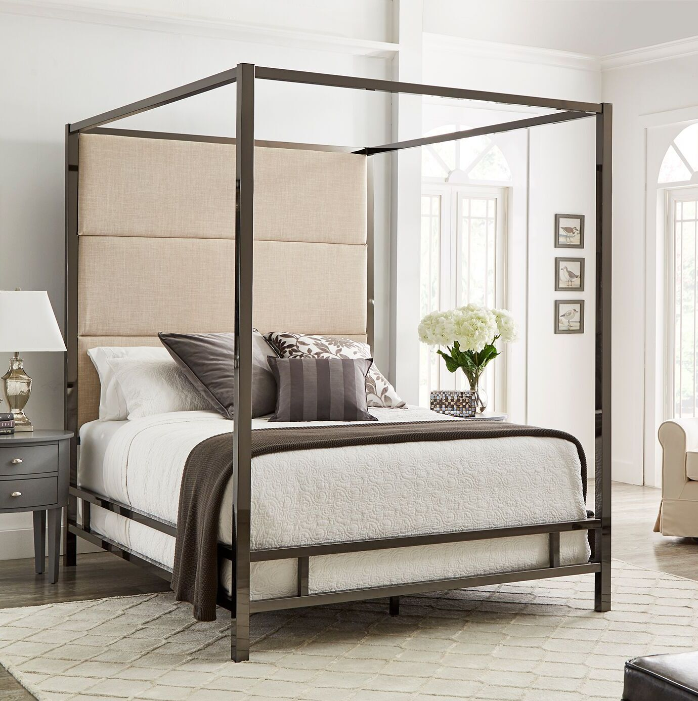 Weymouth Upholstered�Canopy Bed Size: Full, Color: White/Black Nickel