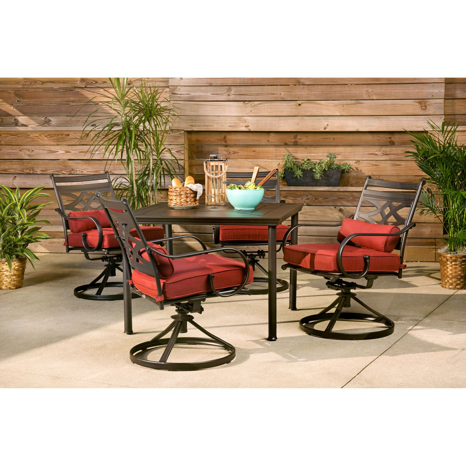Keaney 5 Piece Dining Set with Cushions Cushion Color: Chili Red