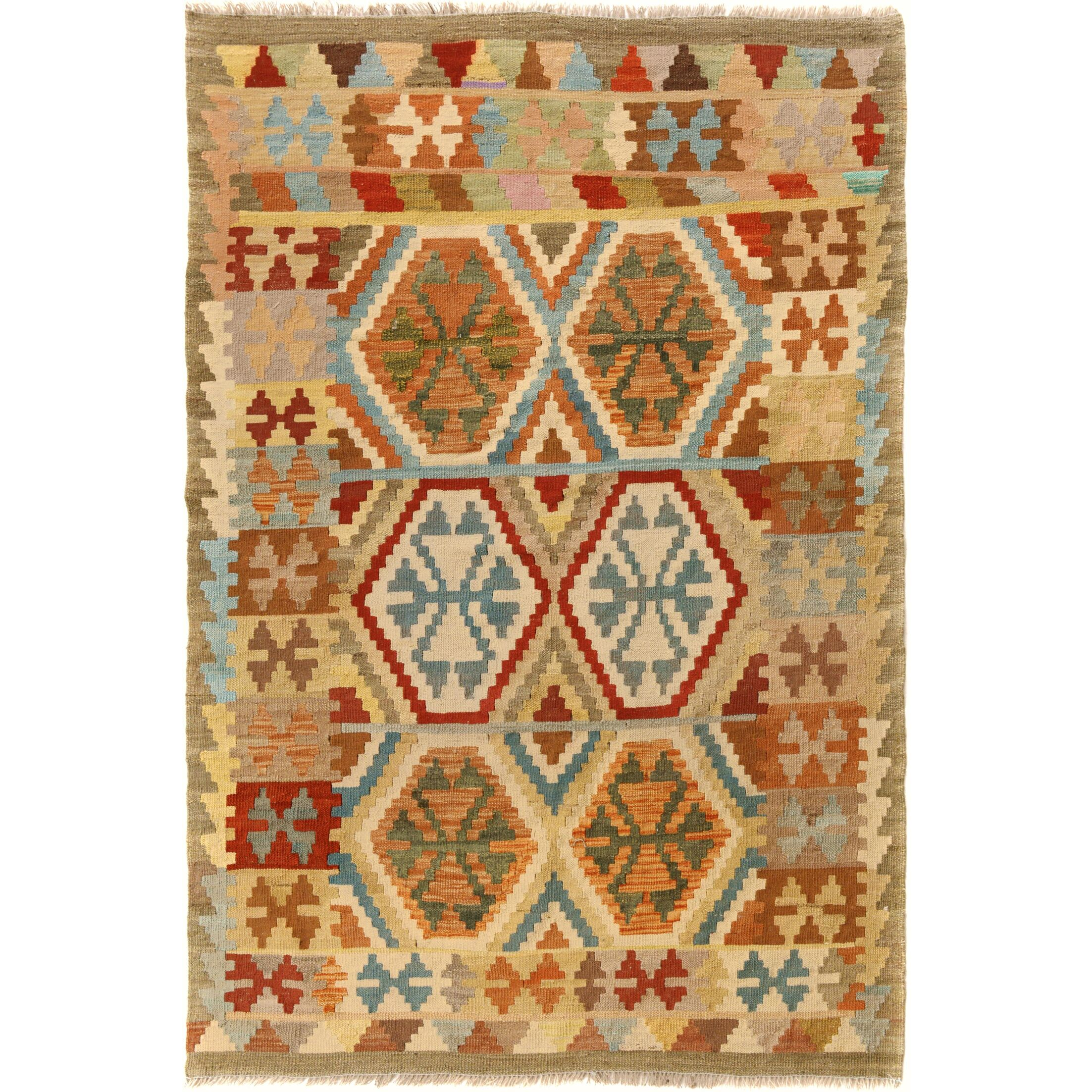 One-of-a-Kind Bakerstown Kilim Hand-Woven Wool Gray/Ivory Area Rug