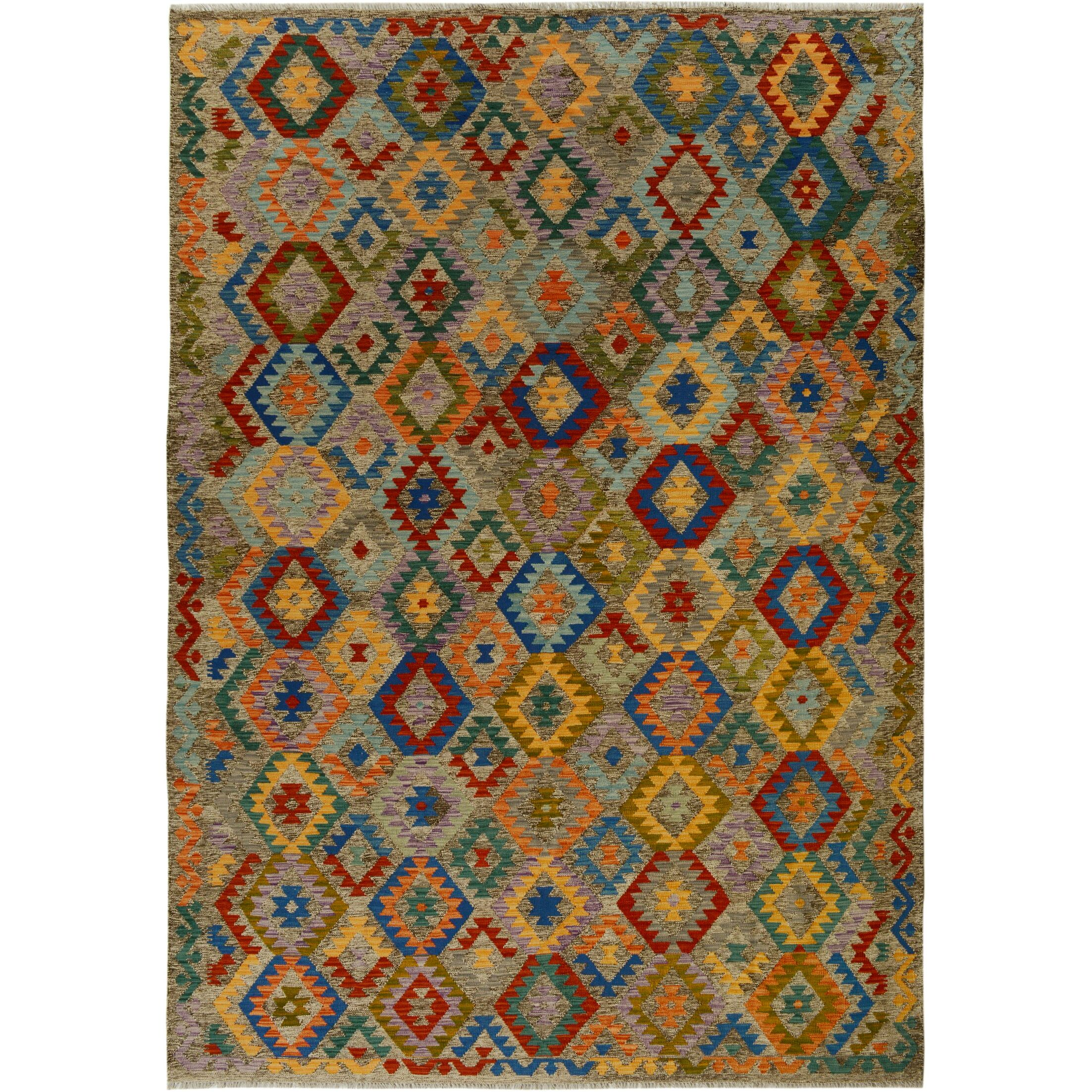 One-of-a-Kind Bakerstown Kilim Hand-Woven Wool Red/Blue Area Rug