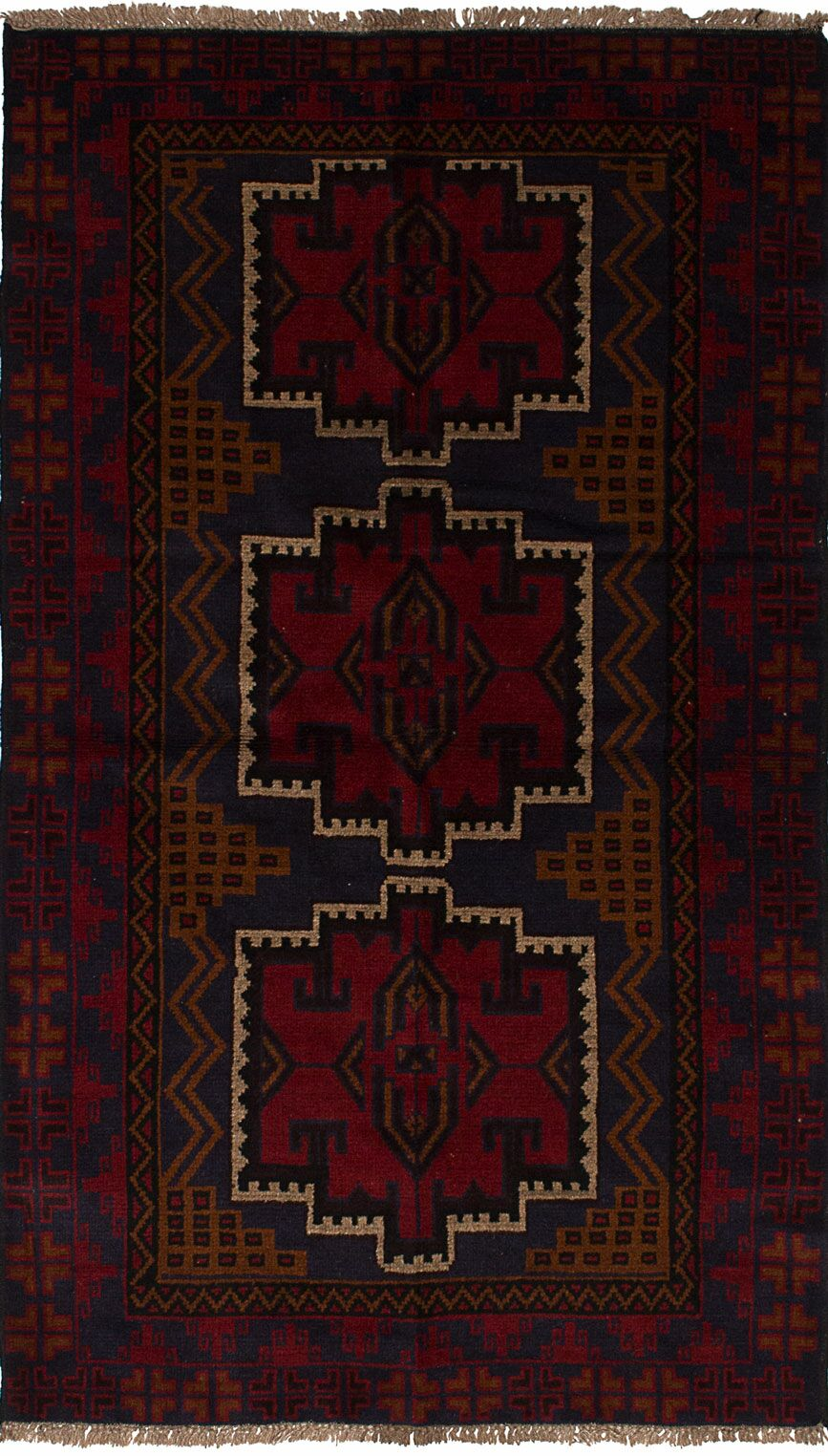 One-of-a-Kind Doak Hand-Knotted Wool Dark Navy/Red Area Rug