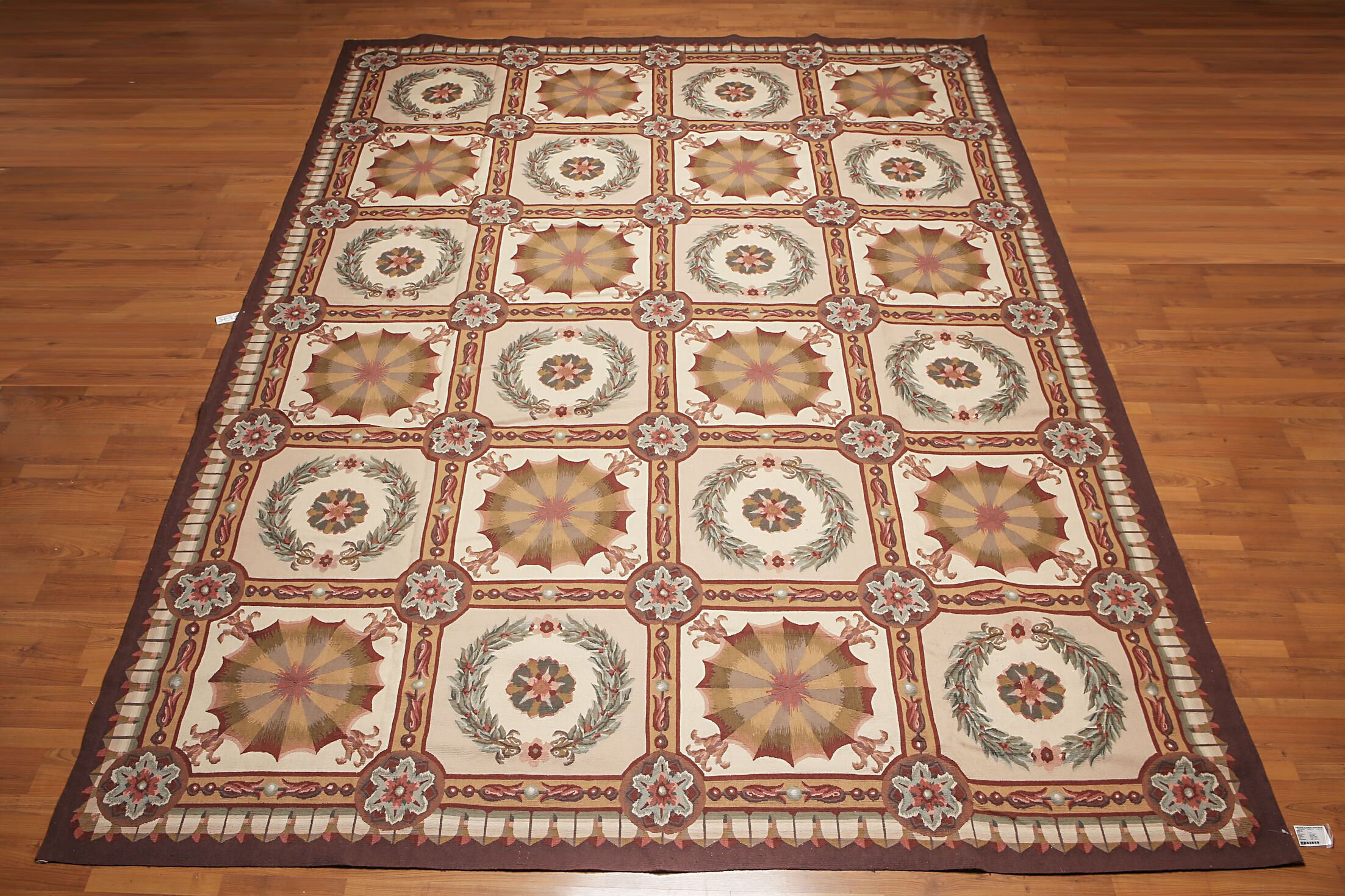 One-of-a-Kind Gelsomina Needlepoint Aubusson Hand-Woven Beige/Brown Area Rug
