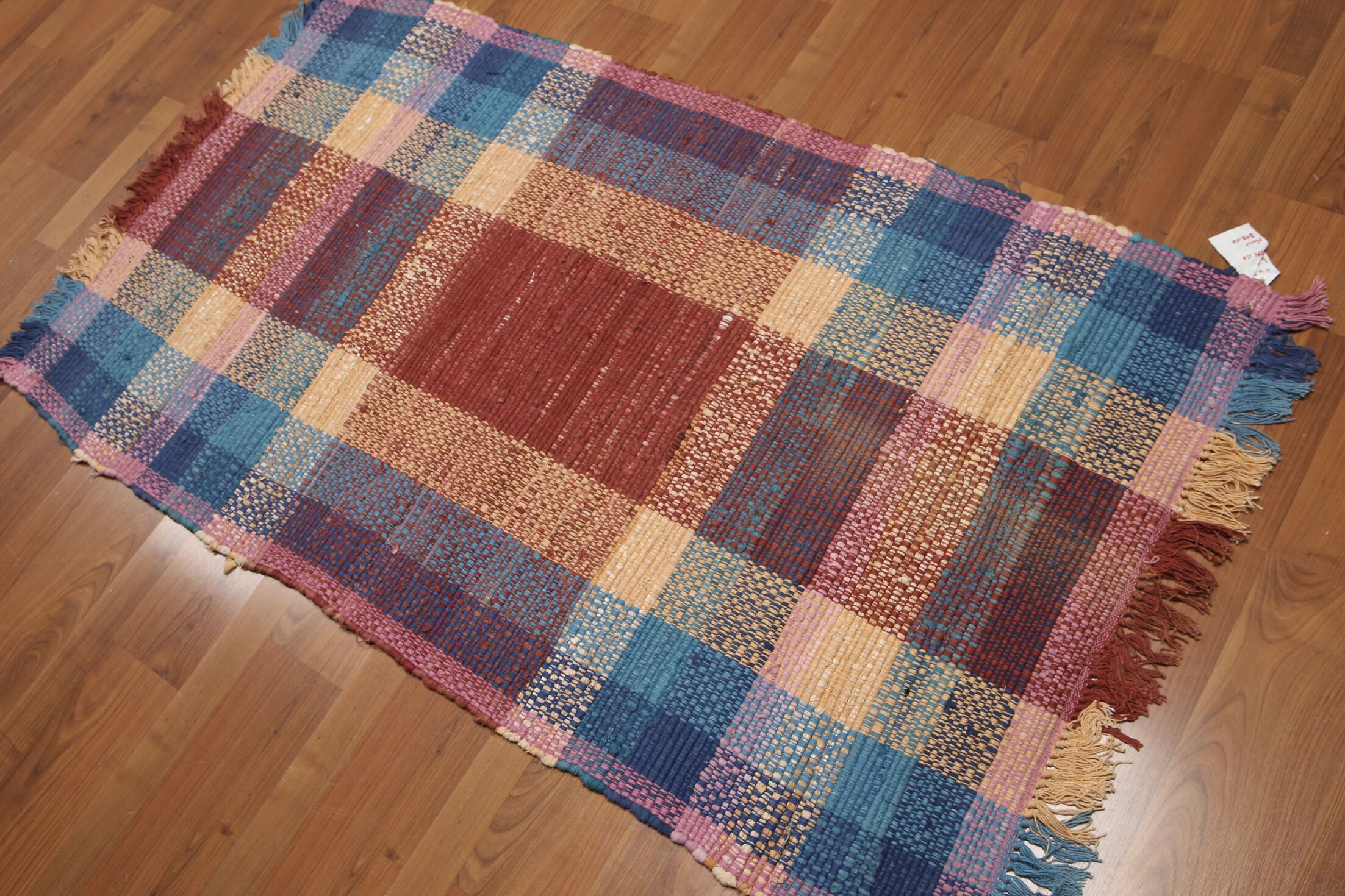 One-of-a-Kind Swindlehurst Dhurry Reversible Hand-Woven Red/Blue Area Rug