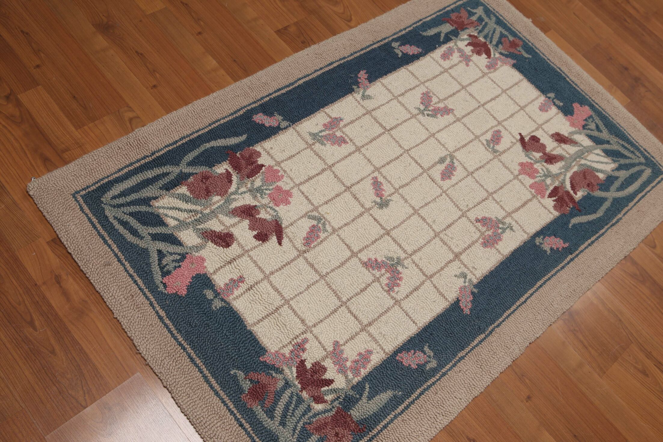 One-of-a-Kind DeBarros Hand-Knotted Wool Beige/Blue Area Rug