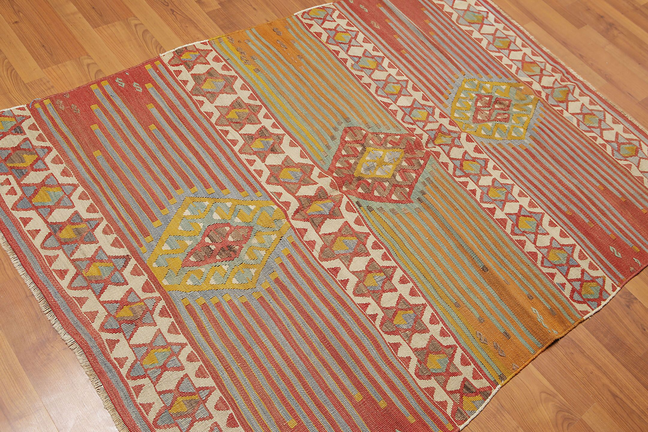 One-of-a-Kind Petti Kilim Hand-Woven Brown/Green Area Rug