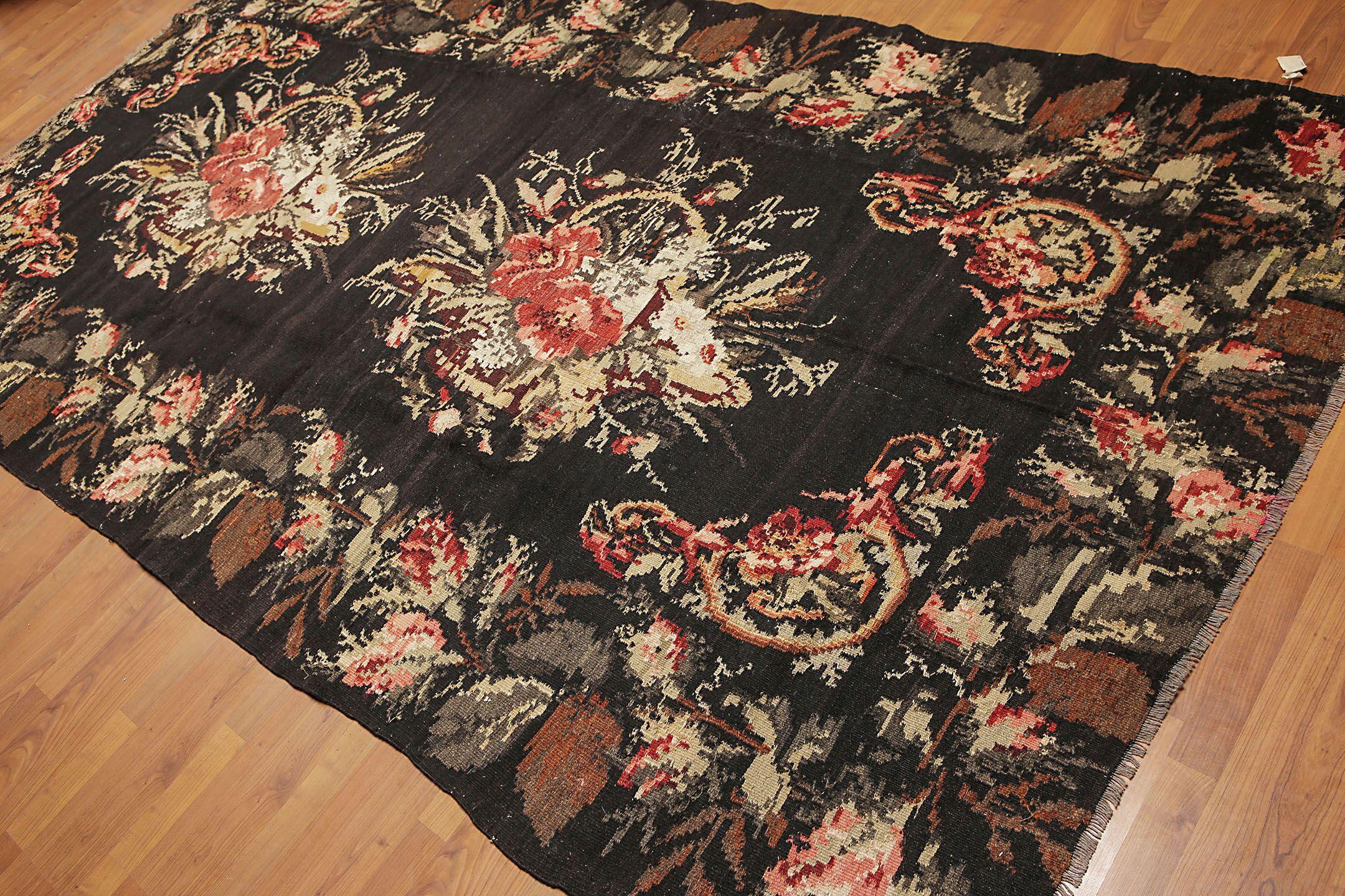 One-of-a-Kind Galiana Kilim Hand-Woven Black/Pink Area Rug