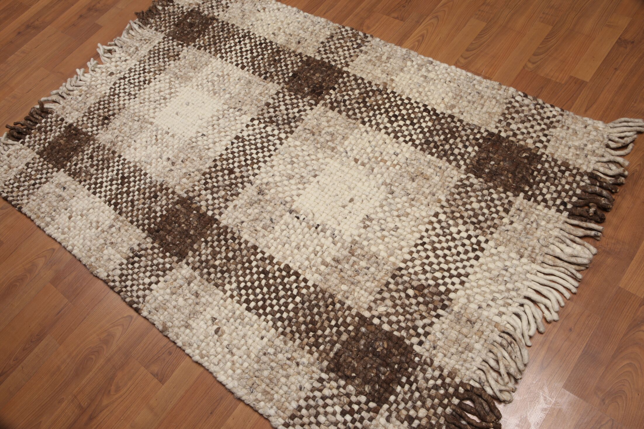 One-of-a-Kind Balis Reversible Pile Hand-Woven Beige/Brown Area Rug