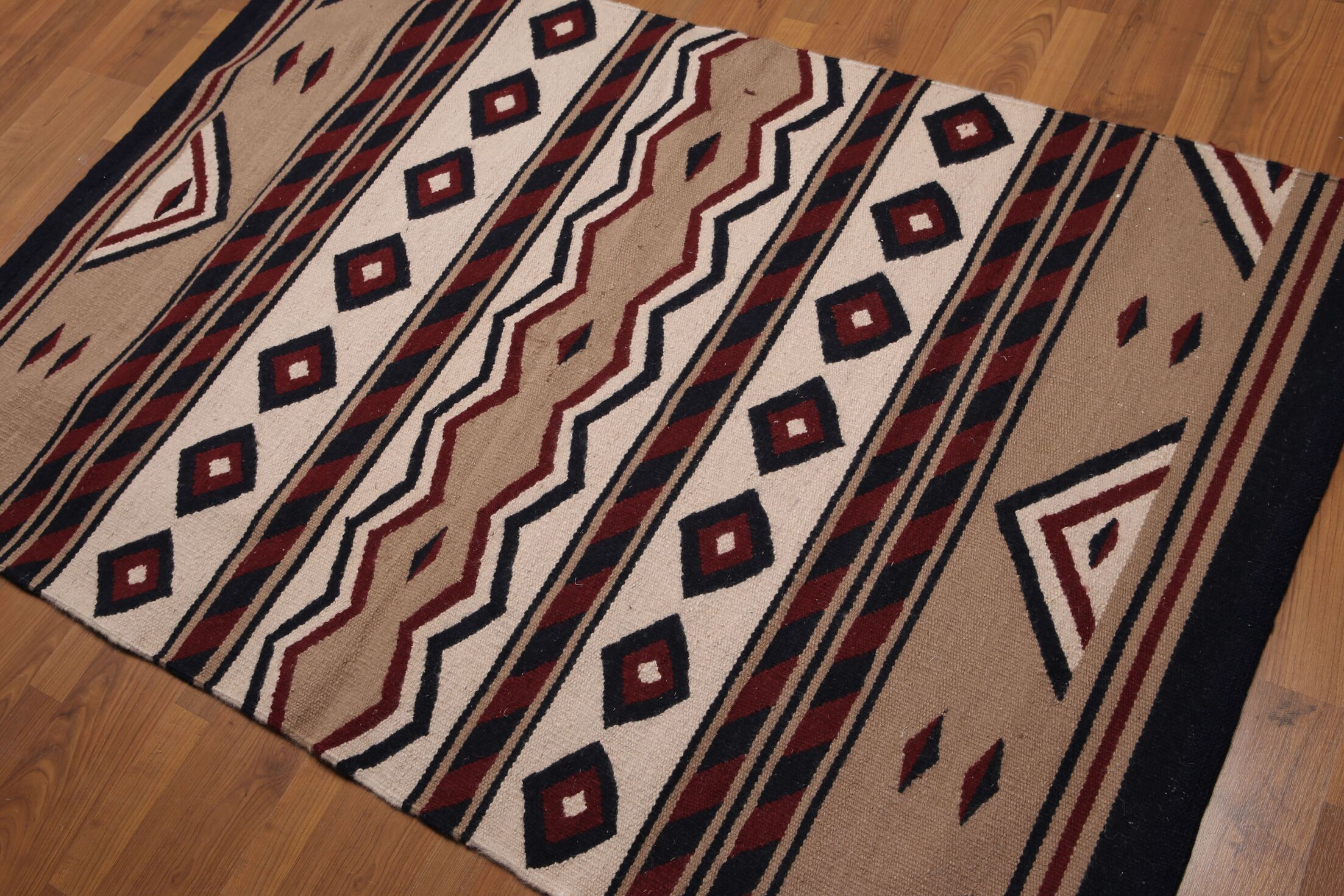 One-of-a-Kind Quarterman Dhurry Kilim Reversible Hand-Woven Brown Area Rug
