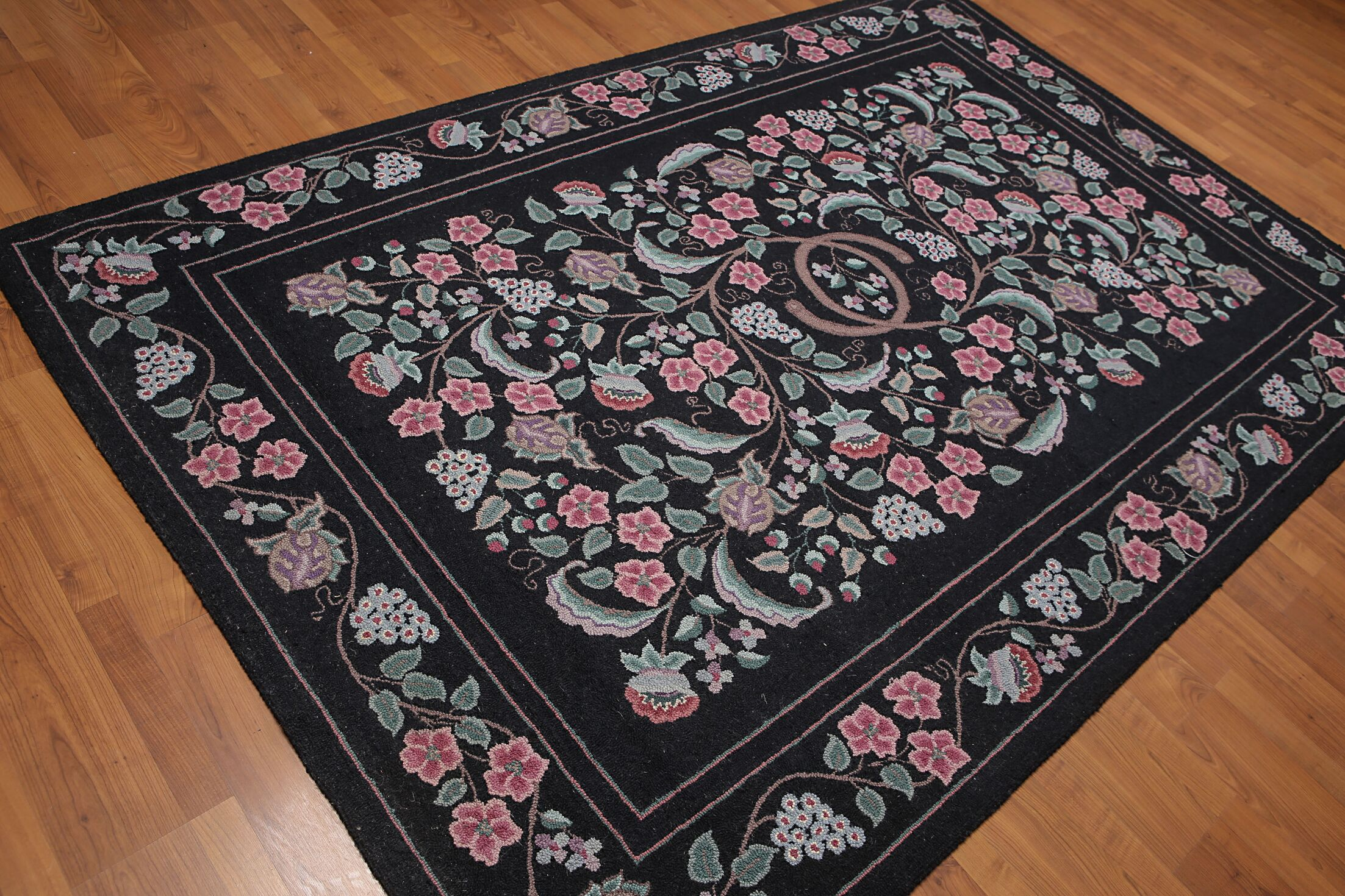 One-of-a-Kind Honore Hand-Knotted Wool Black Area Rug