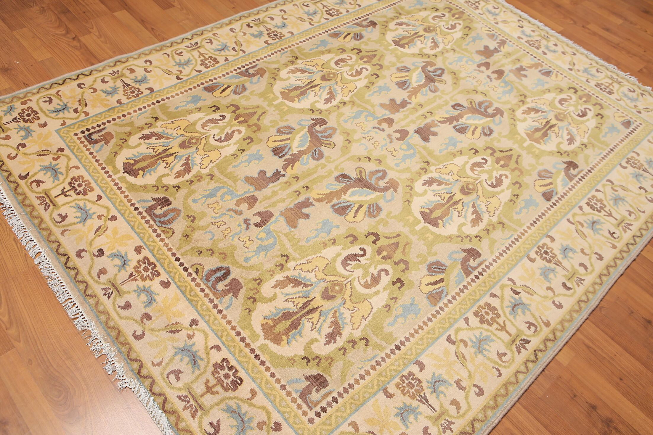 One-of-a-Kind Gerold Hand-Knotted Wool Beige Area Rug
