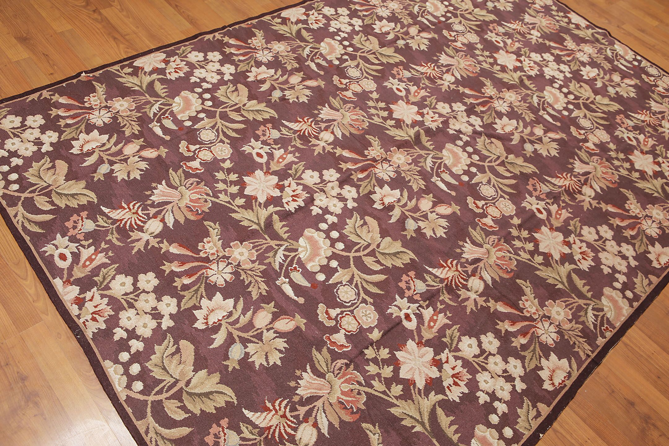 One-of-a-Kind Gerlach Needlepoint Hand-Woven Brown Area Rug