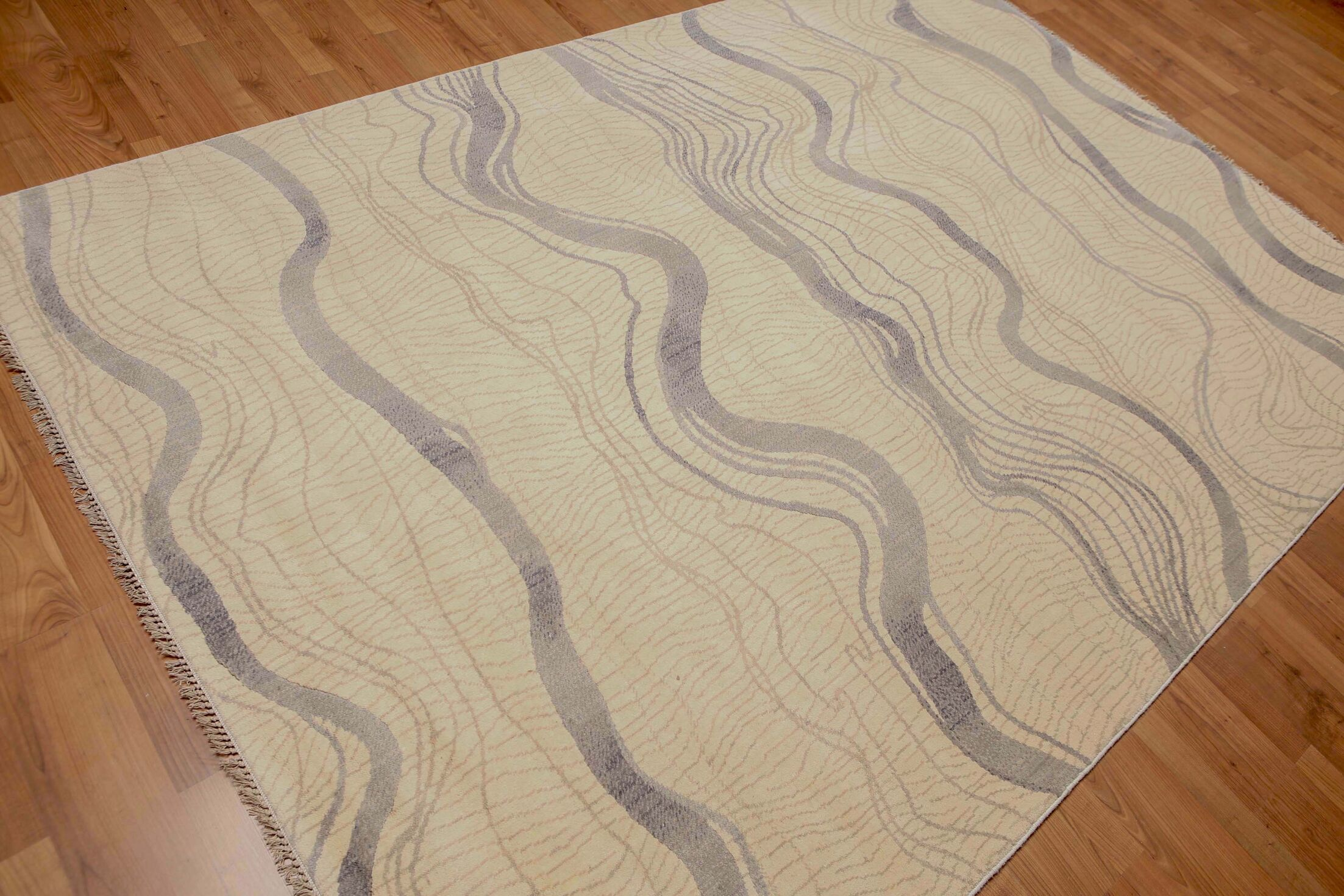 One-of-a-Kind Shetti Hand-Knotted Wool Beige Area Rug