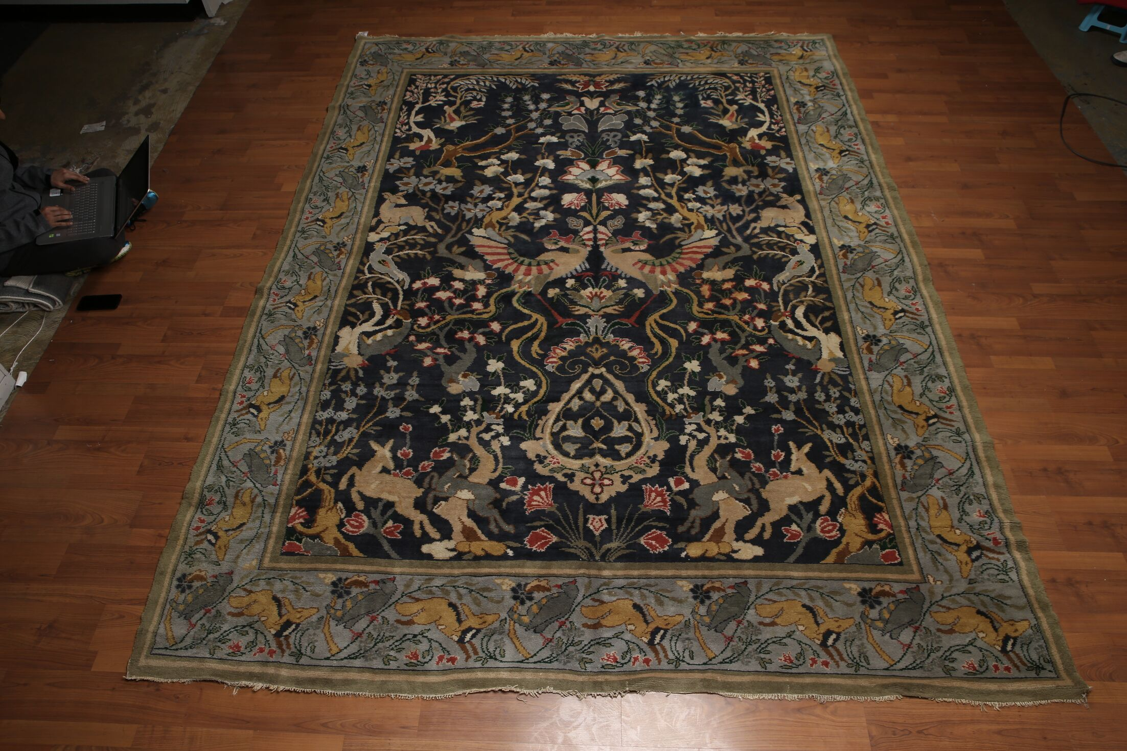 One-of-a-Kind Guilaine Hand-Knotted Wool Midnight Blue Area Rug