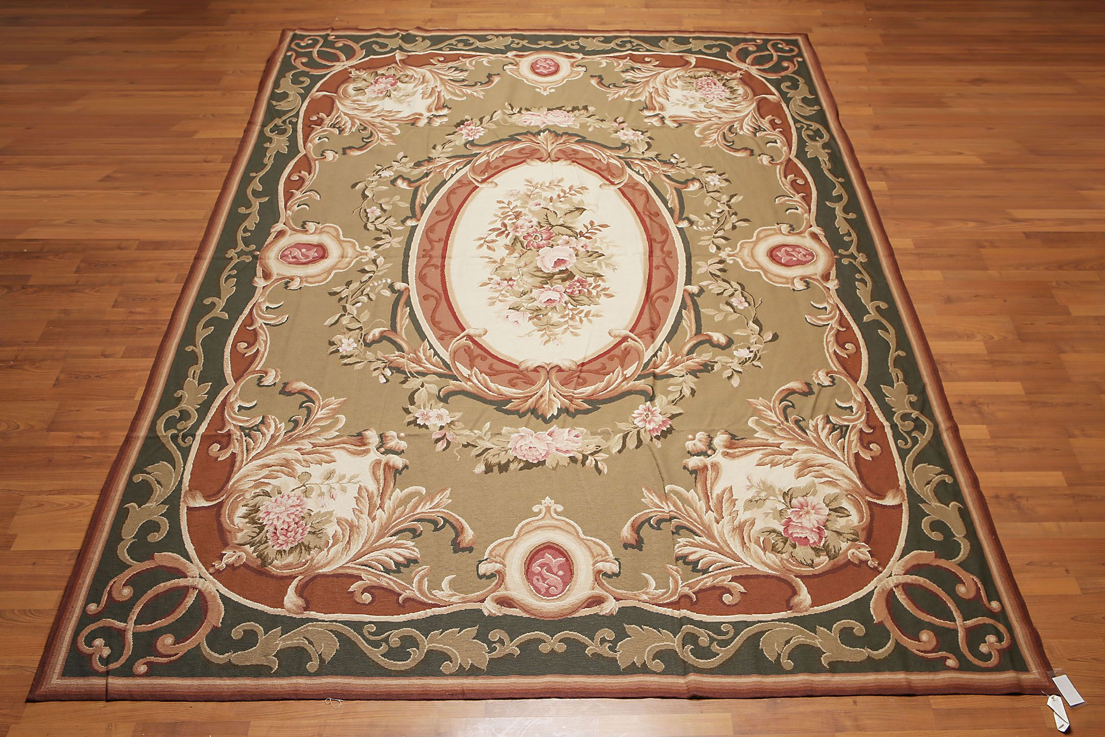 One-of-a-Kind McGregor Needlepoint Aubusson Hand-Woven Green Area Rug