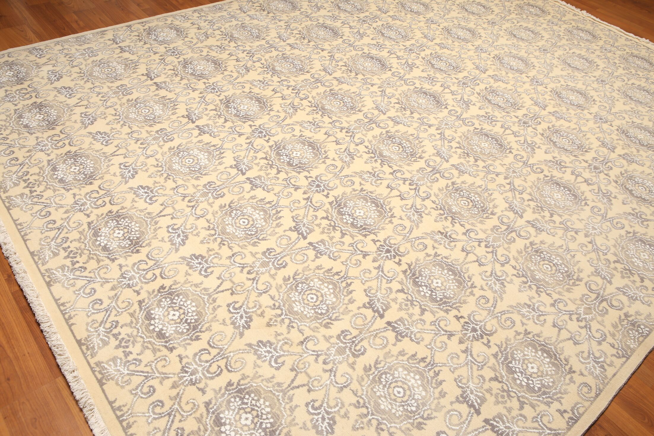 One-of-a-Kind Witherell Pile Hand-Knotted Wool Beige/Gray Area Rug