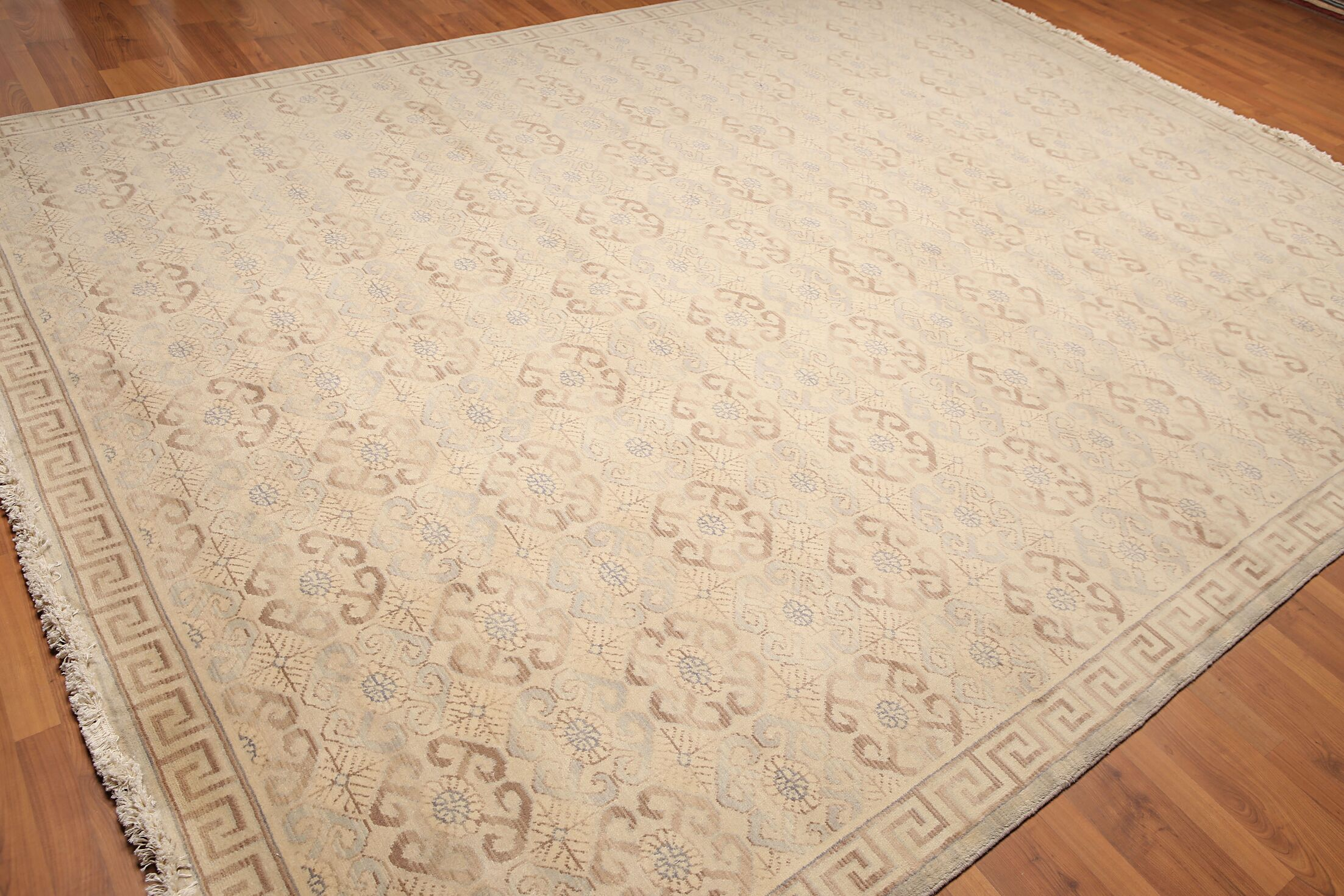 One-of-a-Kind Hodge Pile Hand-Knotted Wool Beige Area Rug