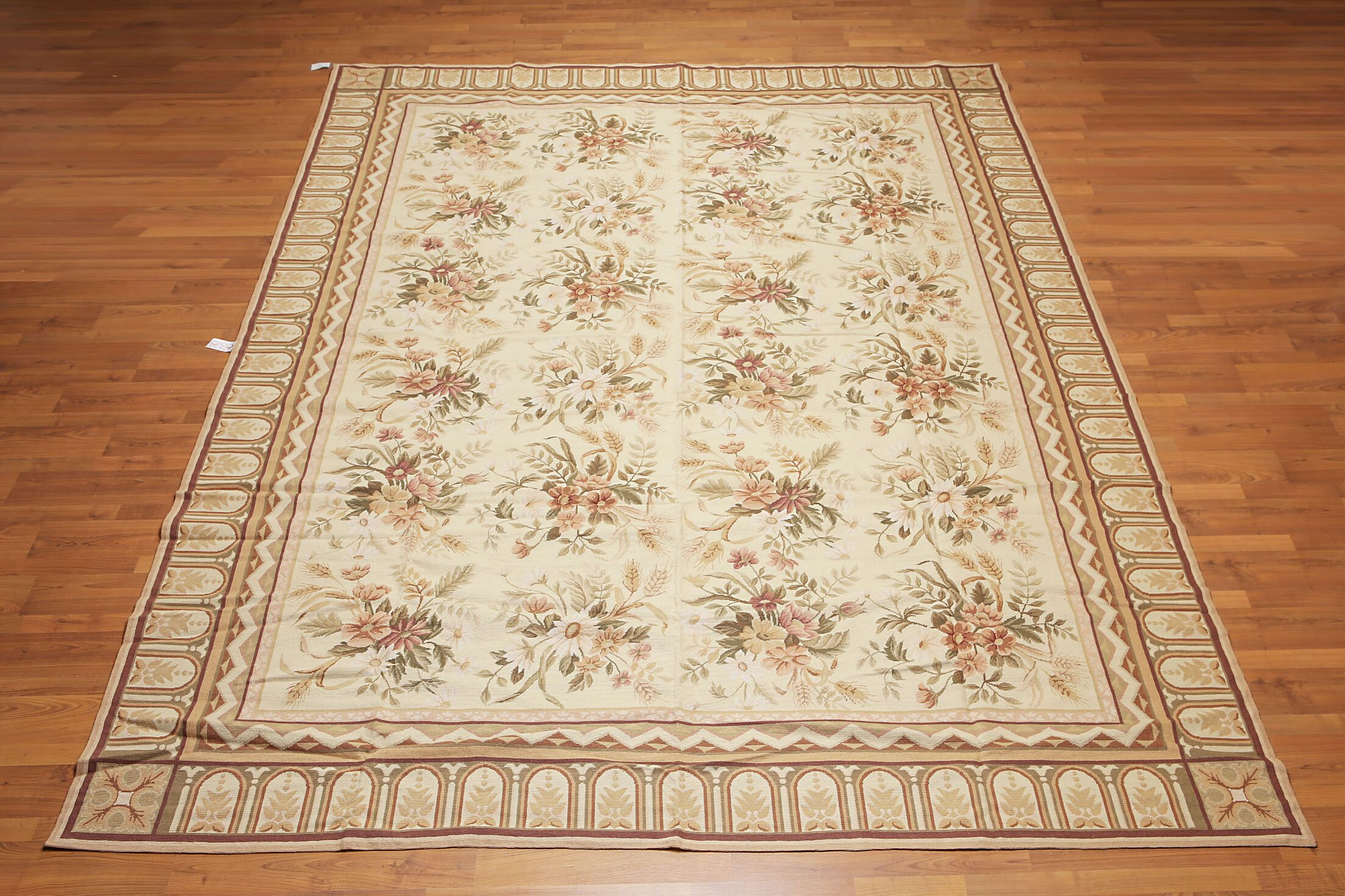 One-of-a-Kind Mireille Needlepoint Aubusson Hand-Woven Beige Area Rug