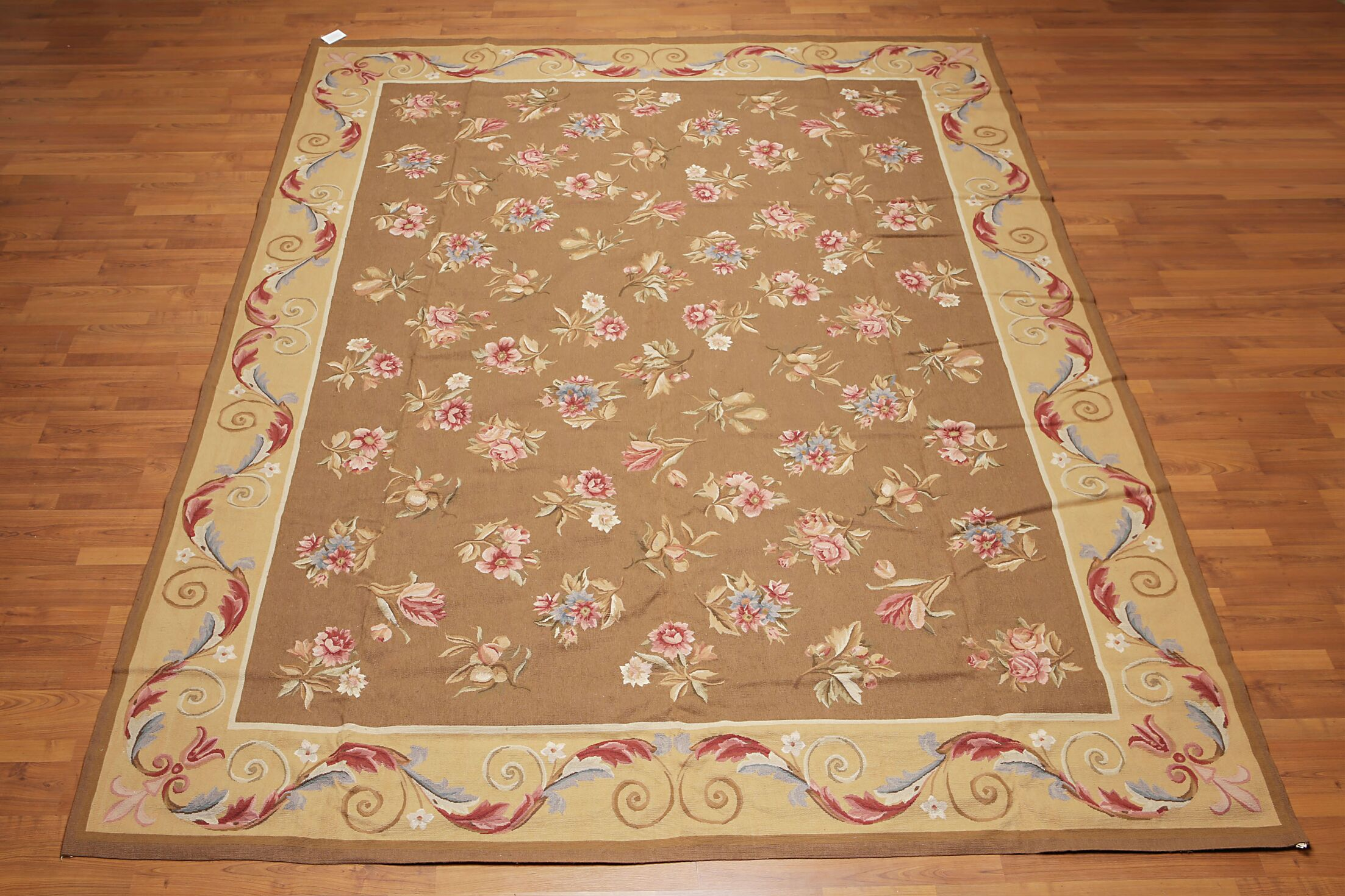 One-of-a-Kind Jasmin Needlepoint Aubusson Hand-Woven Brown Area Rug