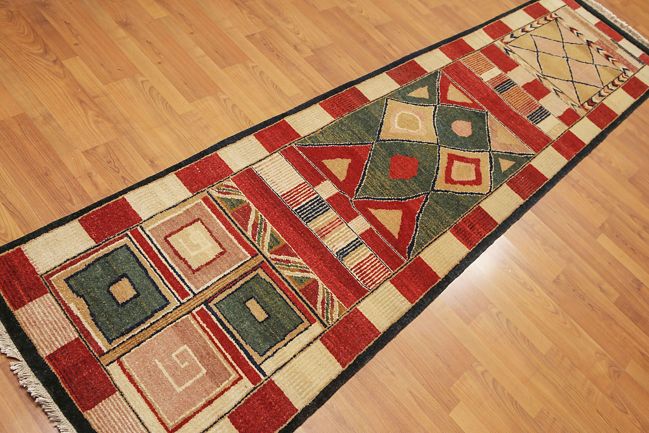 One-of-a-Kind Putman Hand-Knotted Wool Red/Beige Area Rug