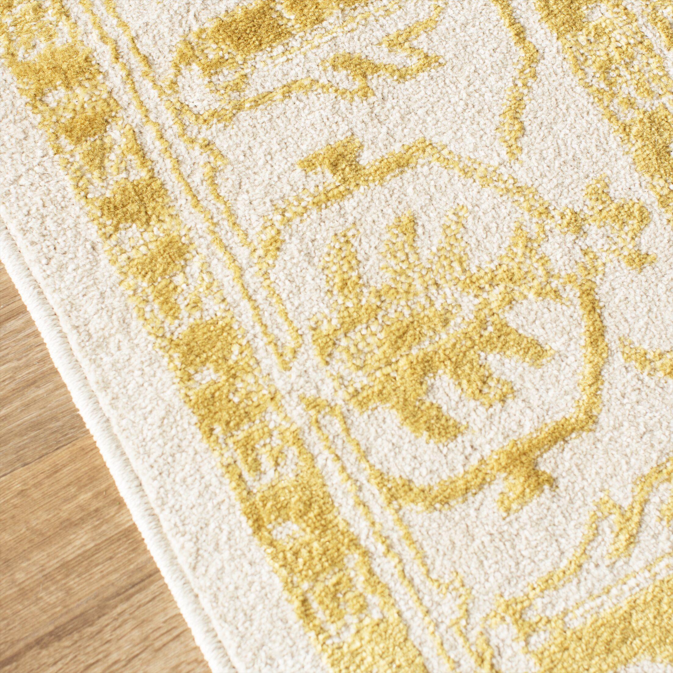 Amberly Beige/Gold Area Rug Rug Size: Runner 2'3