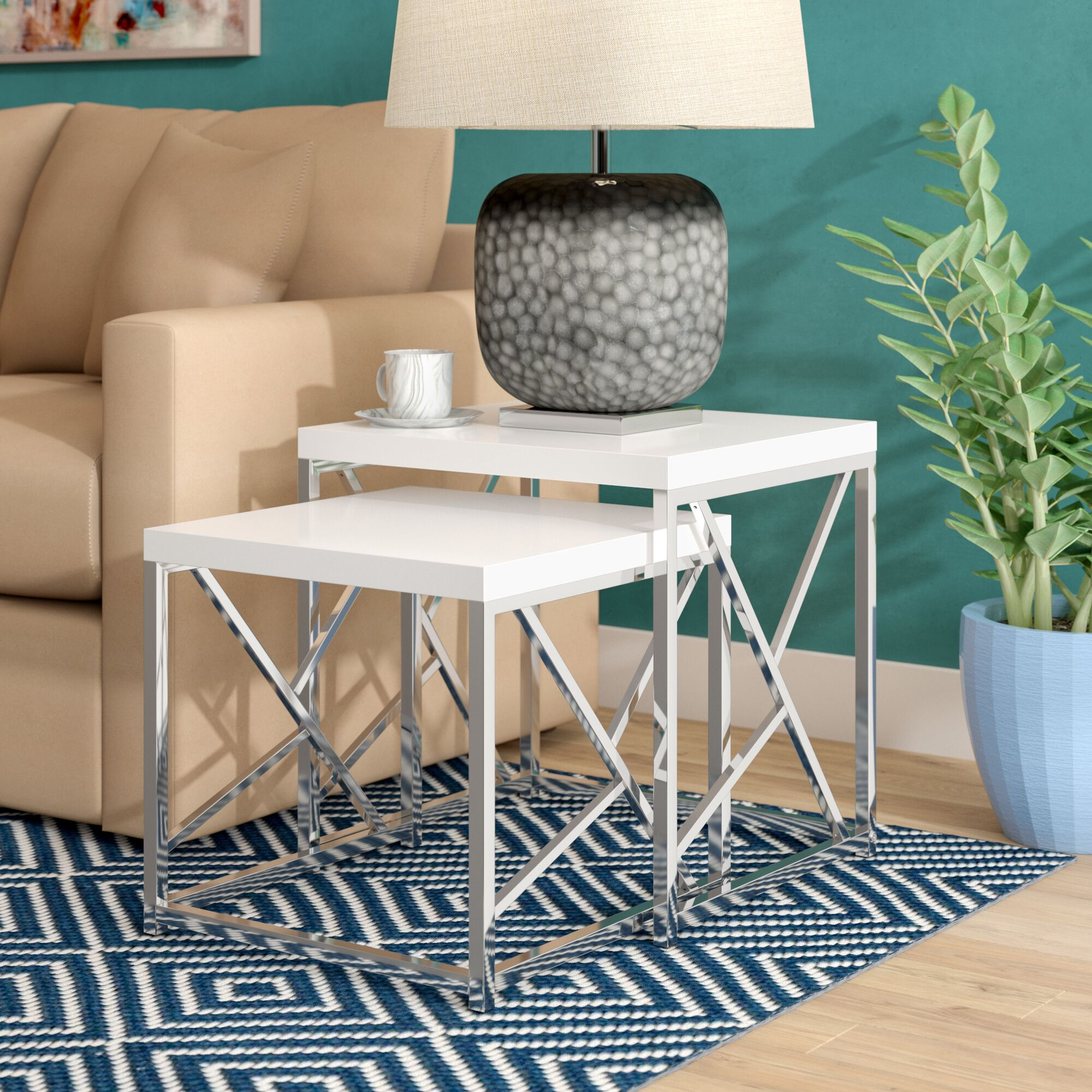 Dripping Springs 2 Piece Nesting Tables Color: White