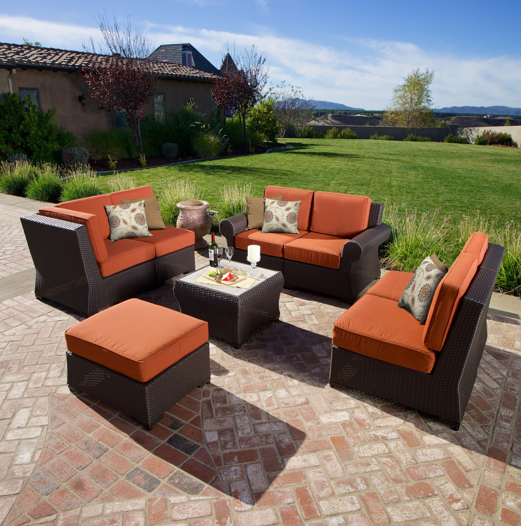Holoubkov 8 Piece Sunbrella Sectional Set with Cushions