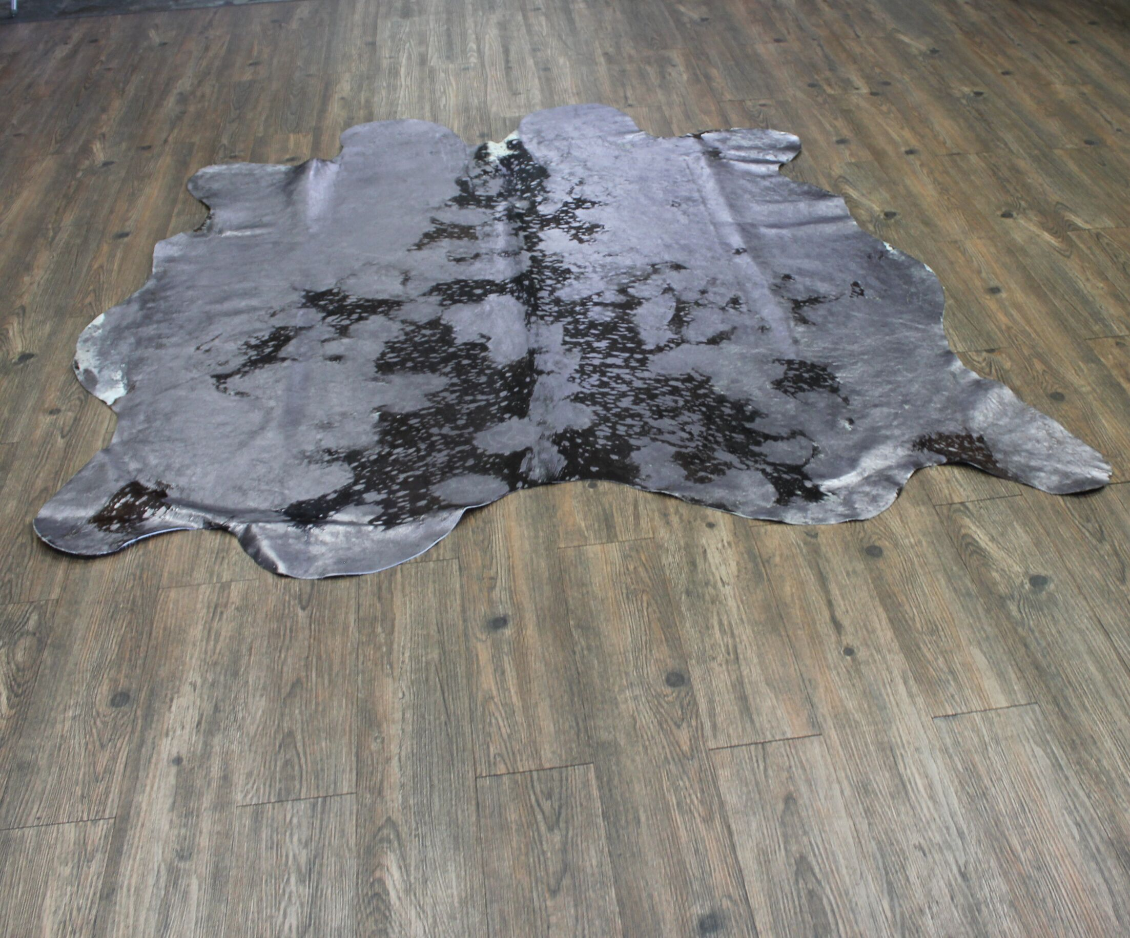 One-of-a-Kind Paras Hand-Woven Cowhide Gray Area Rug