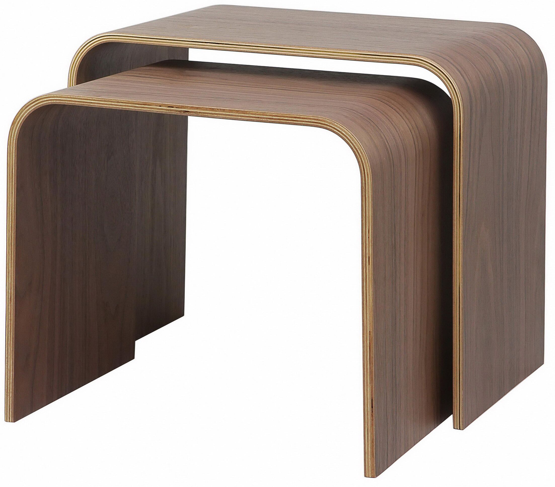 Drewry Bentwood 2 Piece Nesting Tables Color: Walnut