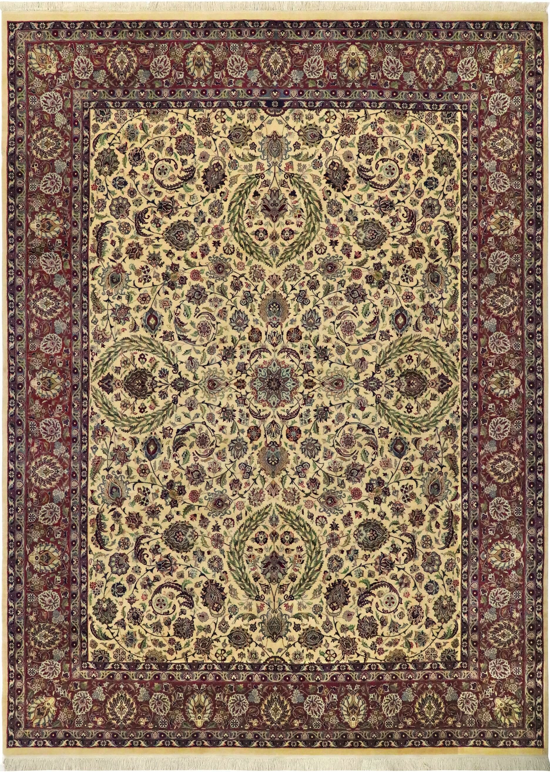 One-of-a-Kind Delron Hand-Knotted Wool Ivory/Purple Area Rug