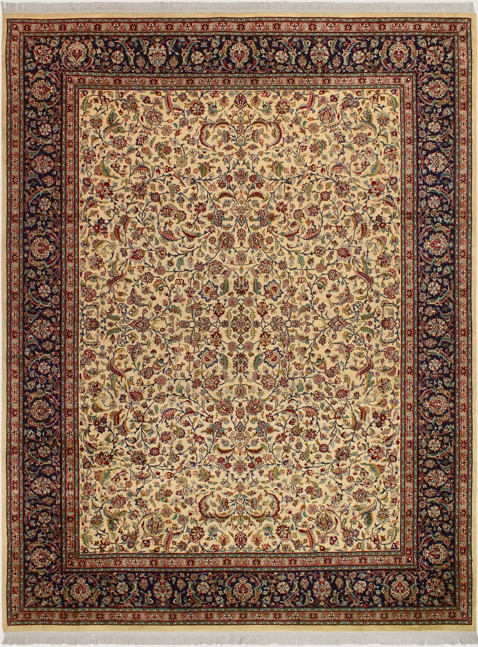 One-of-a-Kind Delron Hand-Knotted Wool Ivory/Blue Area Rug