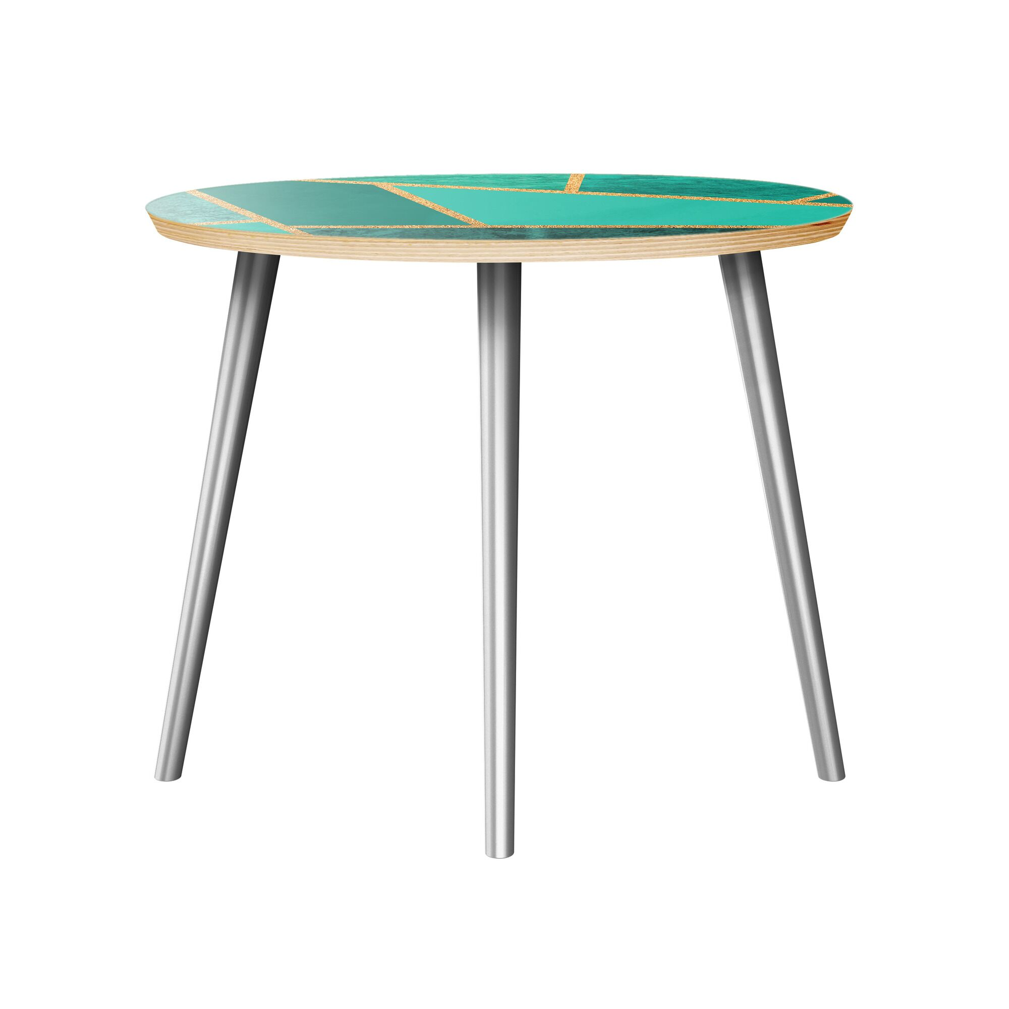 Mcgarvey End Table Table Top Color: Natural, Table Base Color: Chrome