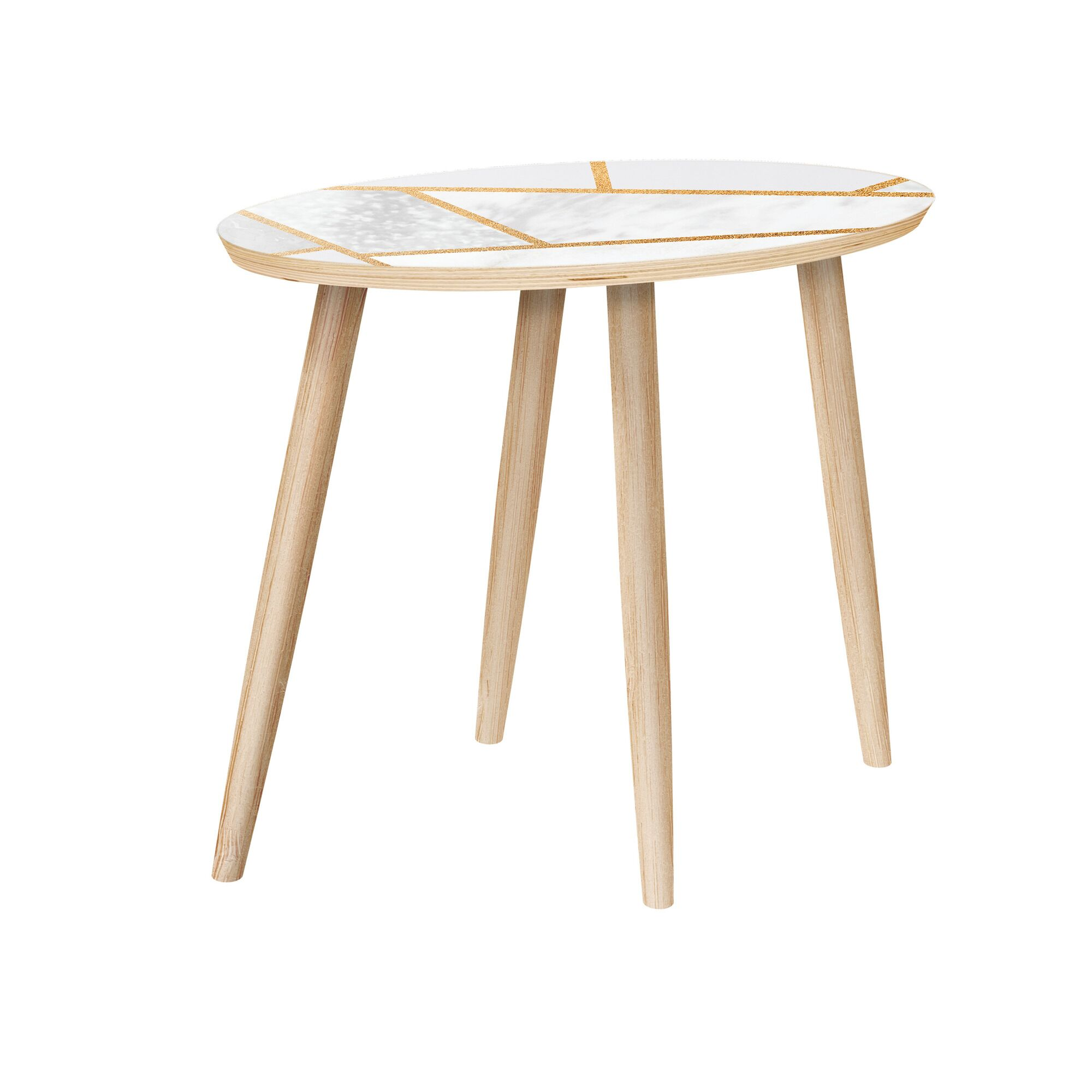 Mcwhorter End Table Table Base Color: Natural, Table Top Color: Natural/White